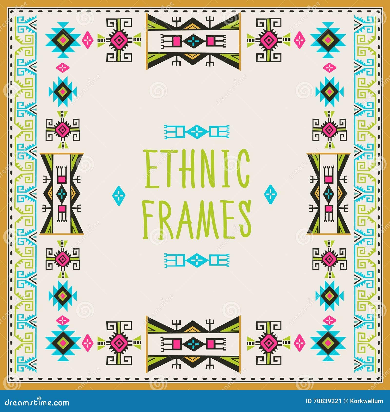 Ethnischer Rahmen-Vektor Stammes- Vektor Navajo-Zauntritt-Rahmen ...