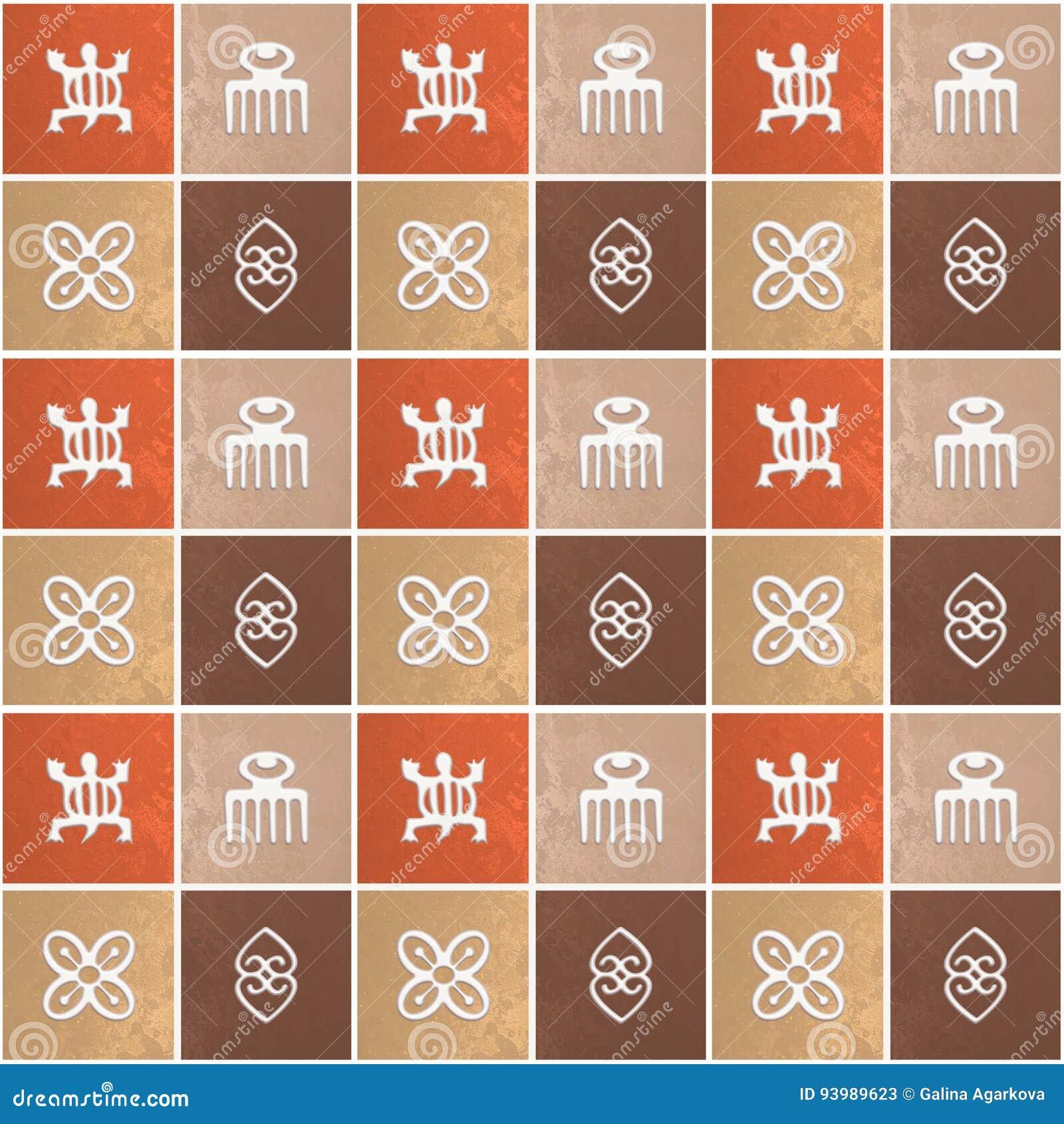 Ethnisches afrikanisches Muster mit Adinkra-simbols