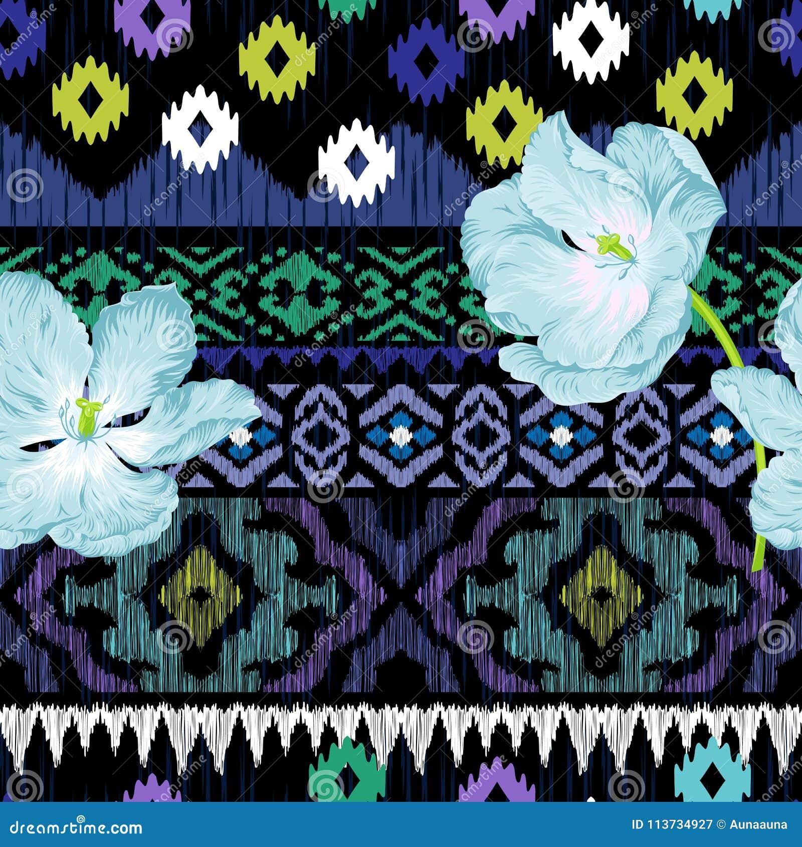 Ethnisches nahtloses Muster mit Blumen
