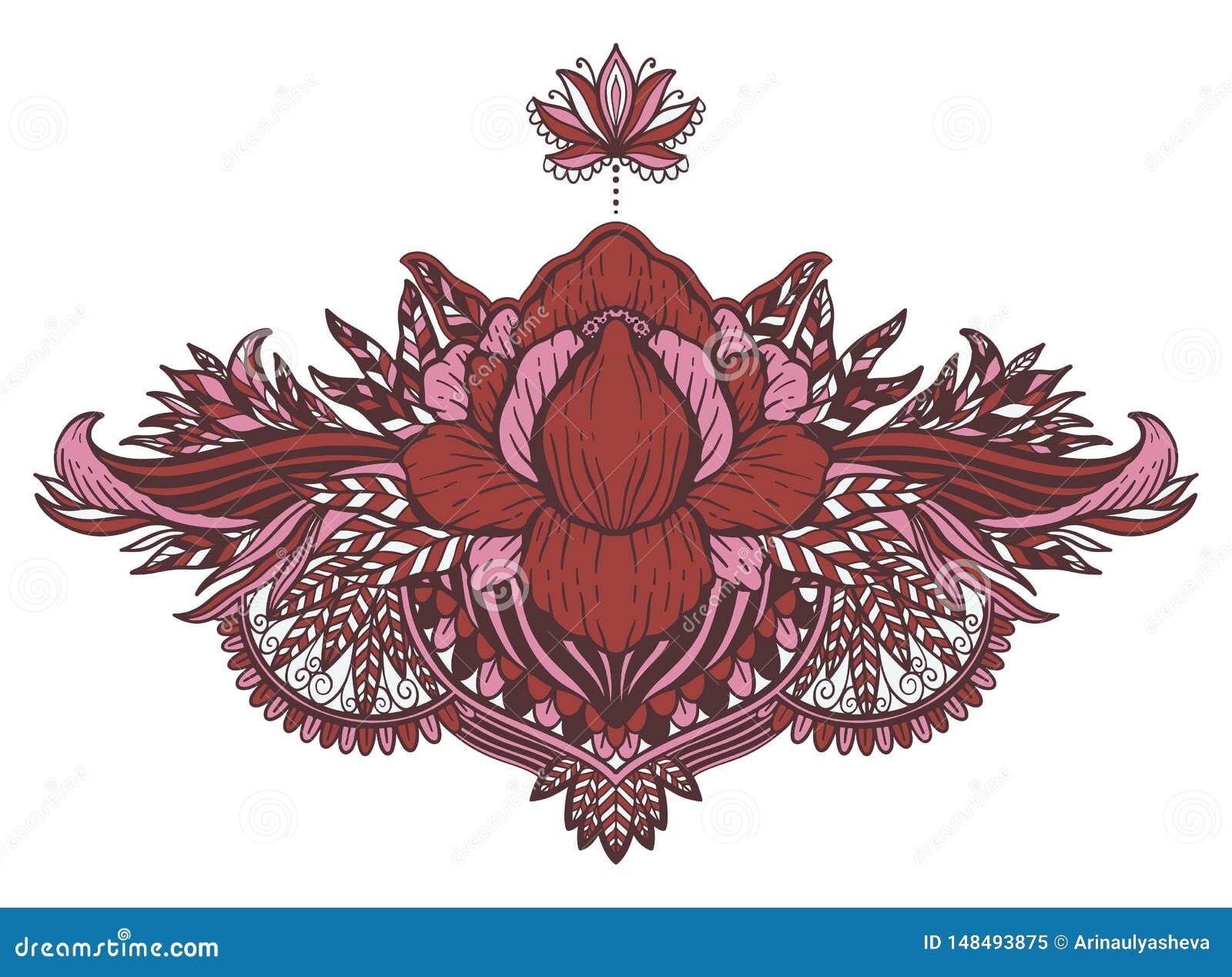 Ethnisches Symbol Lotus-Blume T?towierungsentwurfsmotiv, Dekorationselement Asiatische Geistigkeit, Nirwana und Unschuld des Zeic