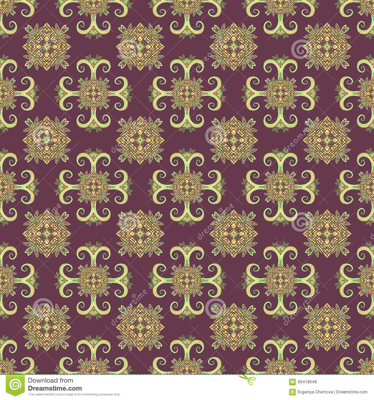 Abstract Flower Background With Decoration Elements For: Ethno Seamless Pattern. Boho Ornament. Vintage Decorative