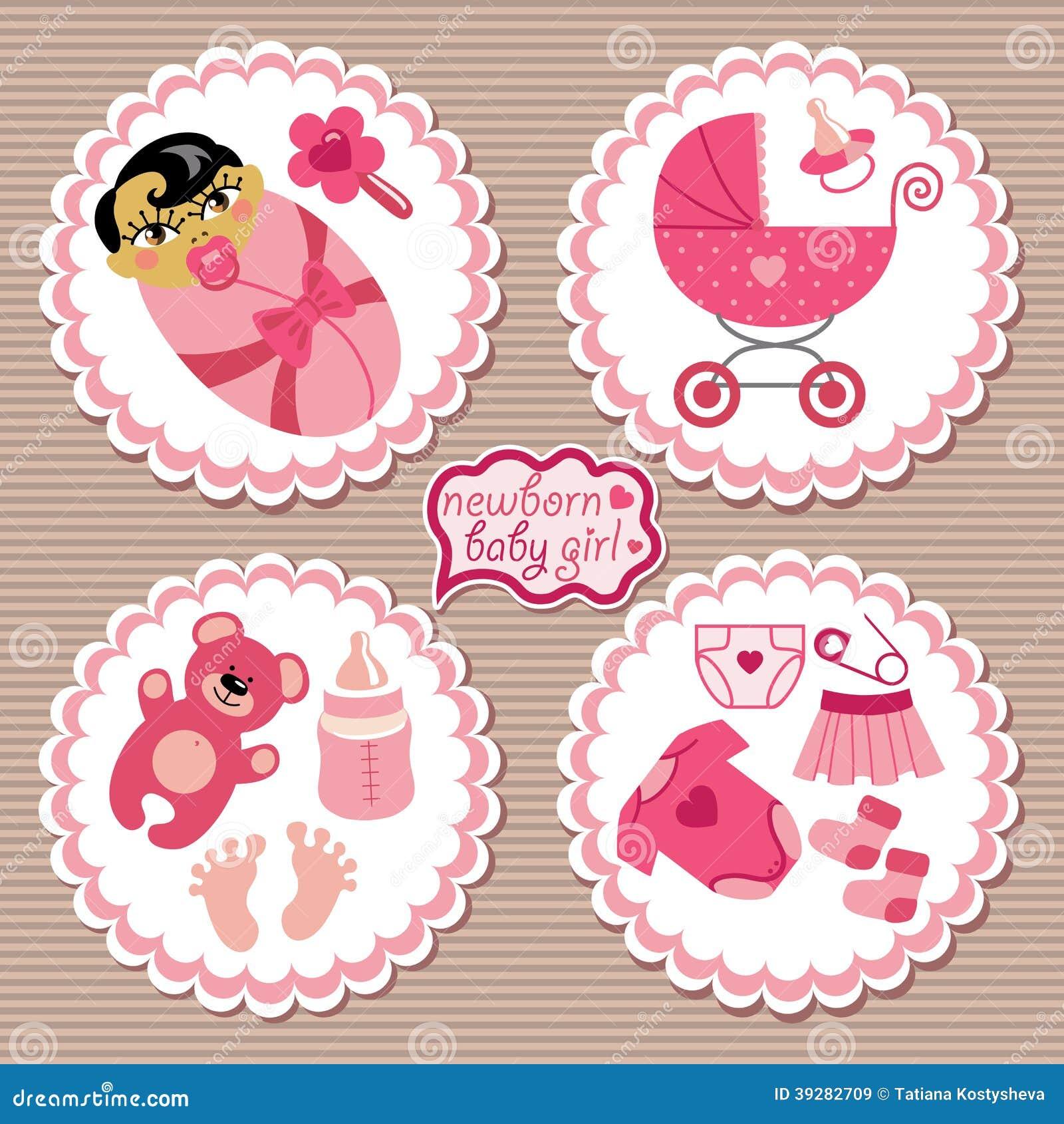 Etichetta con gli elementi per la ragazza di neonato asiatica