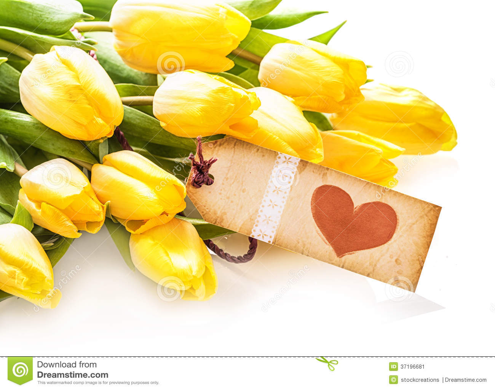 Etichetta d 39 annata del cuore su un mazzo di tulipani for Progetti di costruzione del mazzo
