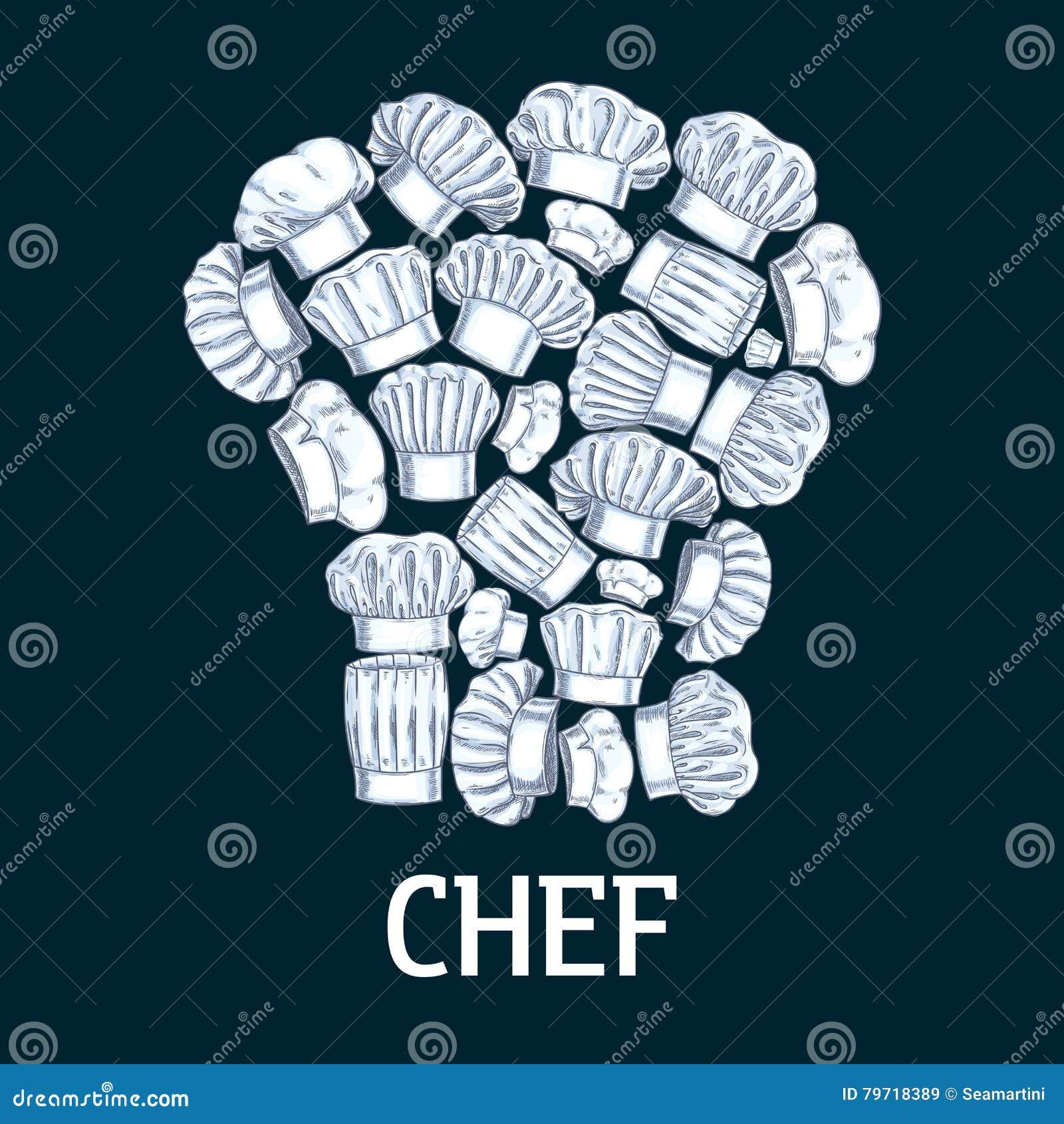 Etichetta del toque del cuoco unico nella forma dei cappelli bianchi del  cuoco Vector l emblema della decorazione per il caffè 25d842997371