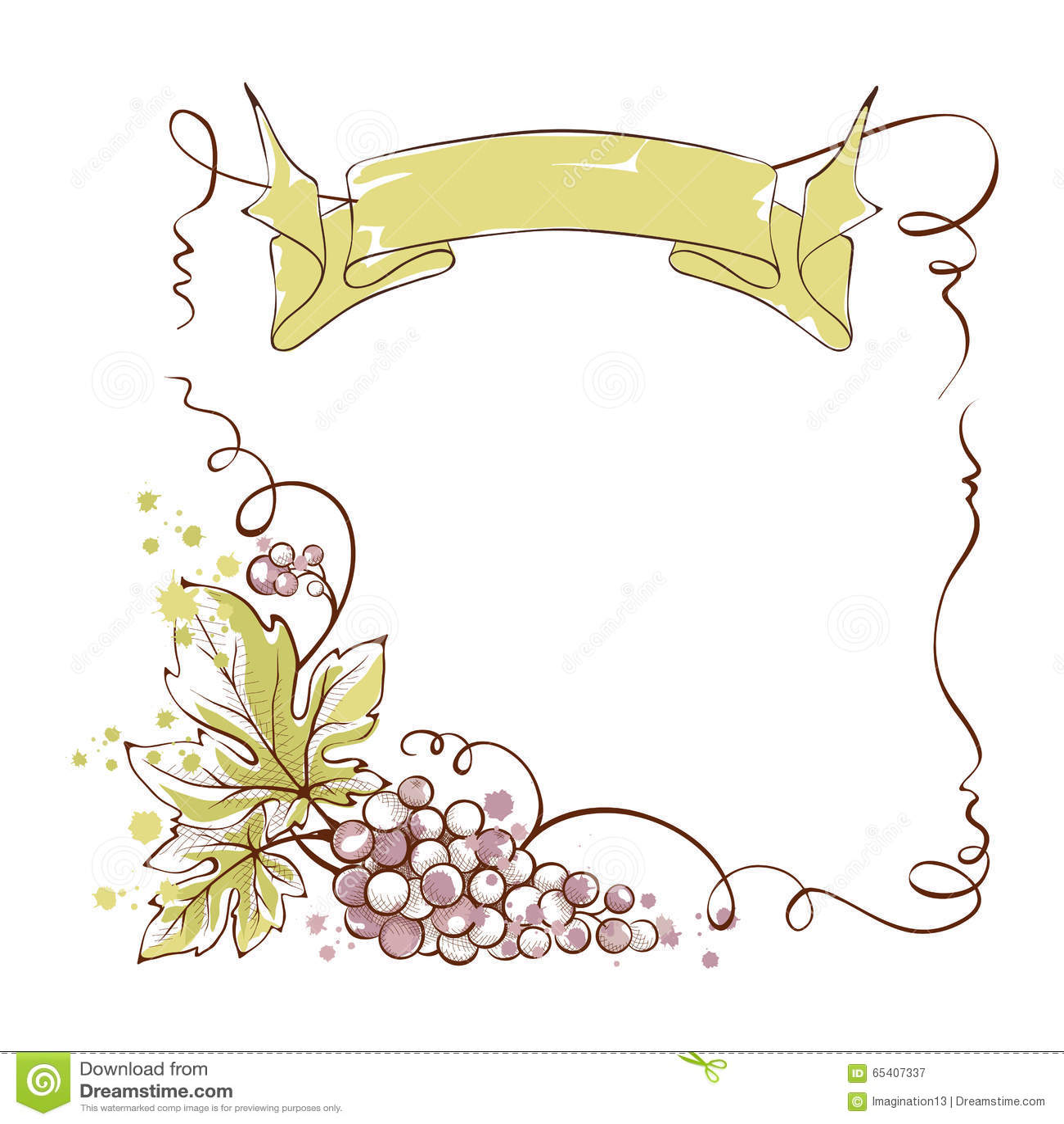 Etichetta Del Vino Con Un Mazzo Di Uva E Di Nastro Illustrazione