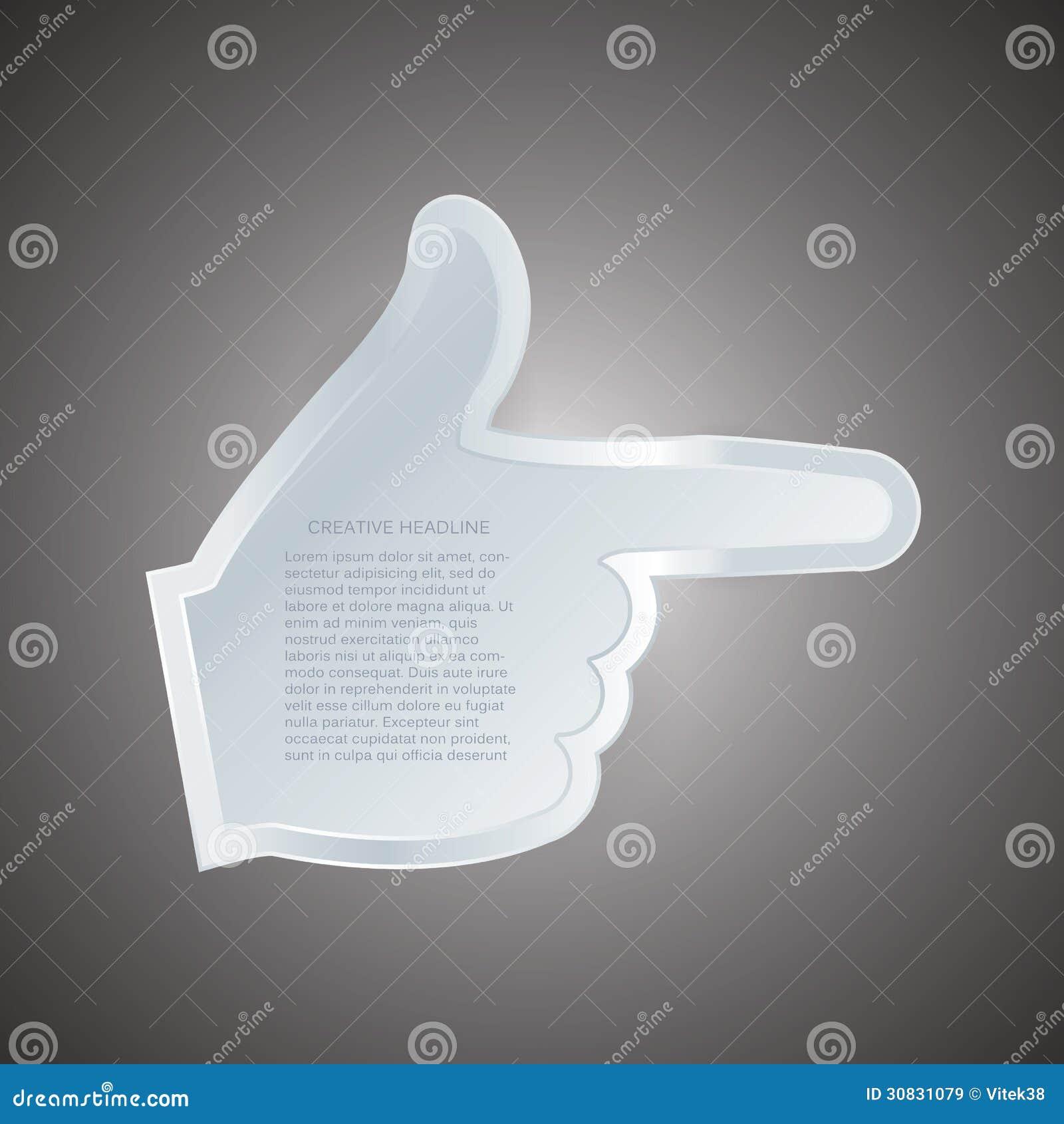 Etichetta di gesto di mano di vettore con spazio per il vostro contenuto. Efficace