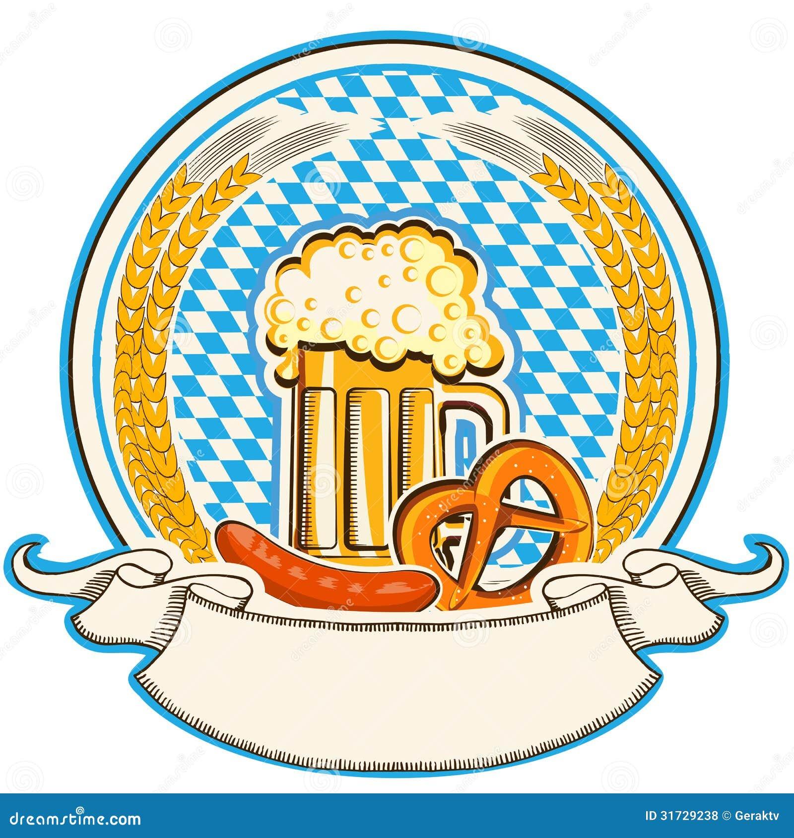 Etichetta Di Oktoberfest Con Birra Ed Alimento. Bandiera Della Baviera ...