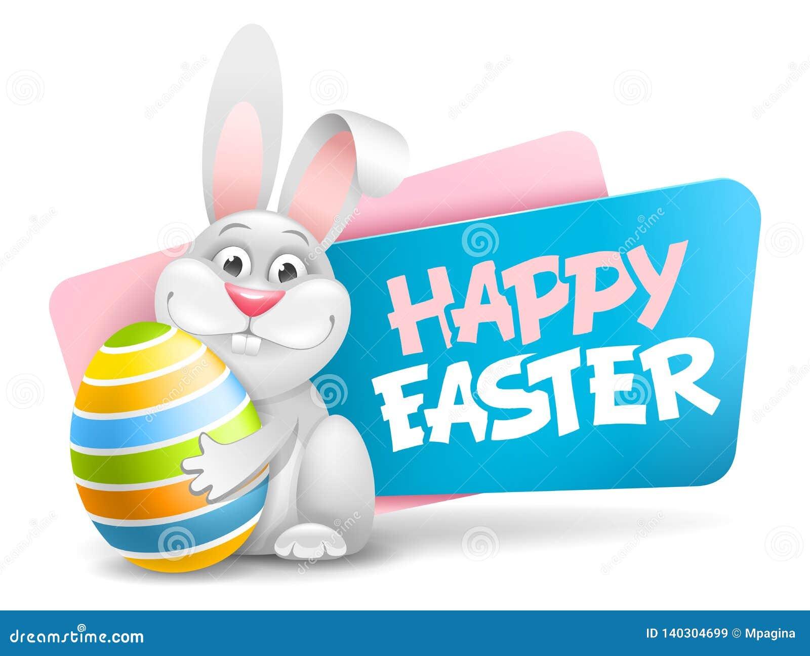 Etichetta di Pasqua con il coniglietto divertente