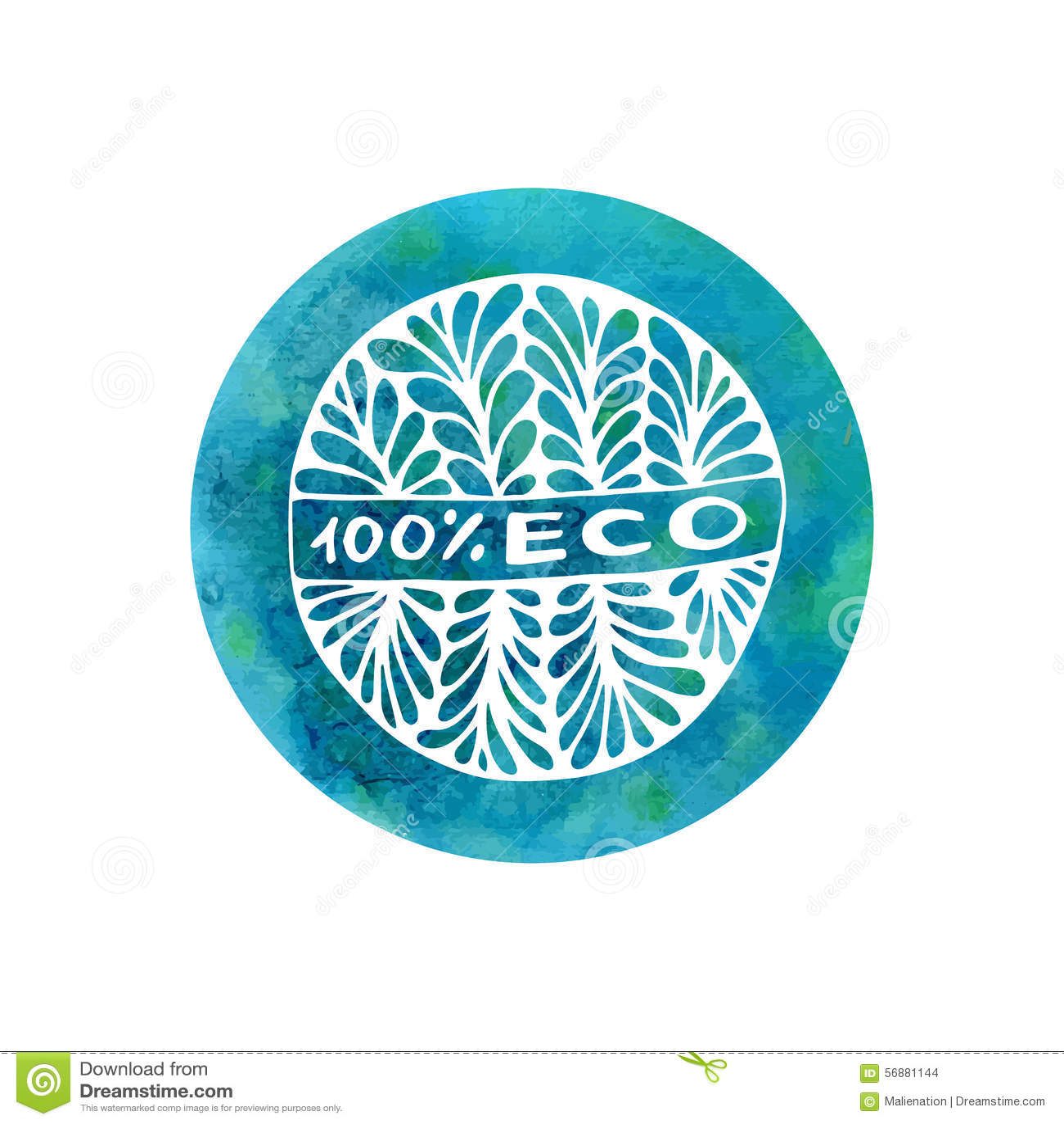 Etichetta di scarabocchio dell acquerello di vettore per il prodotto biologico naturale Autoadesivo o emblema disegnato a mano de