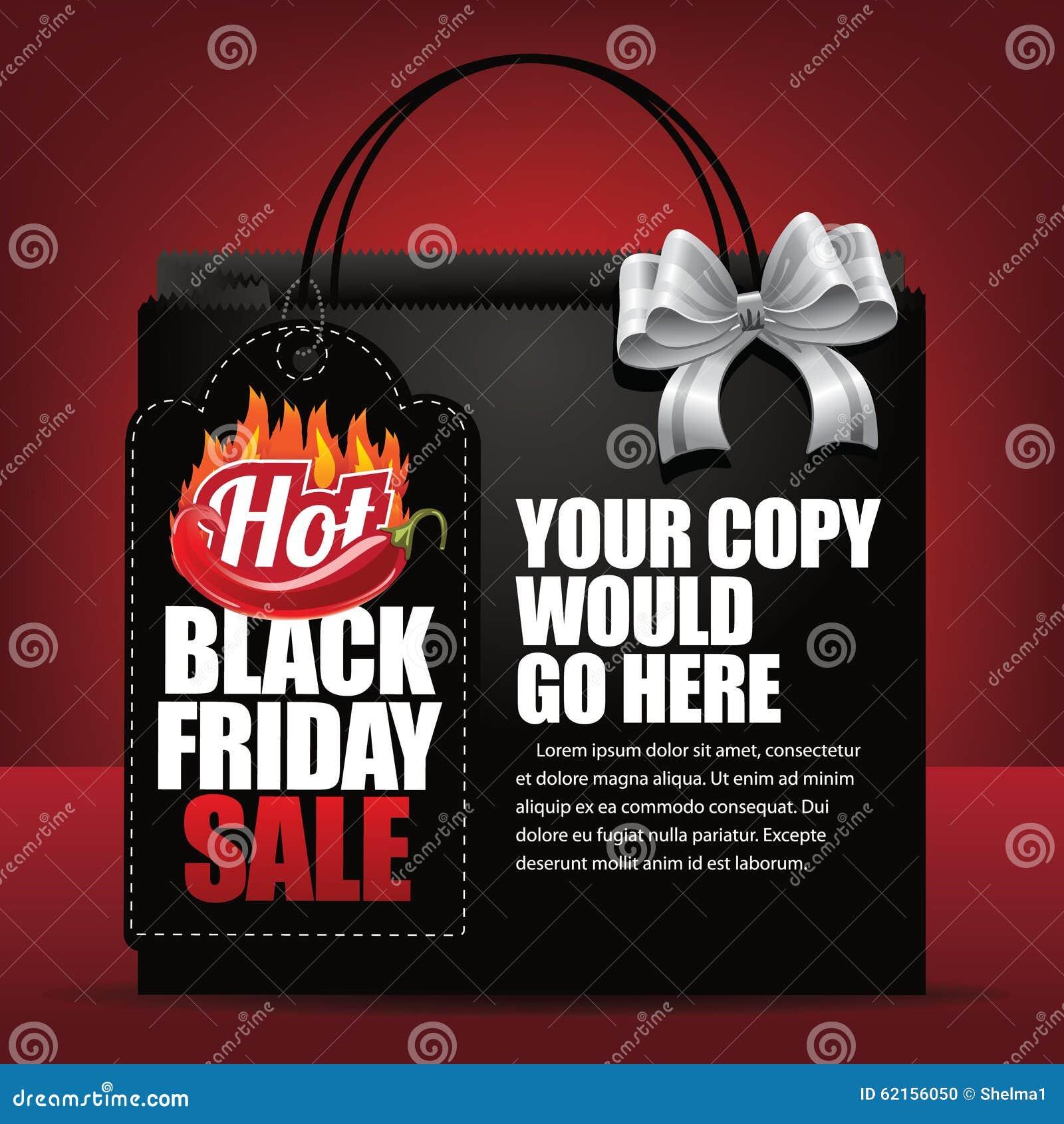 Etichetta di vendita di Black Friday e fondo caldi del sacchetto della spesa