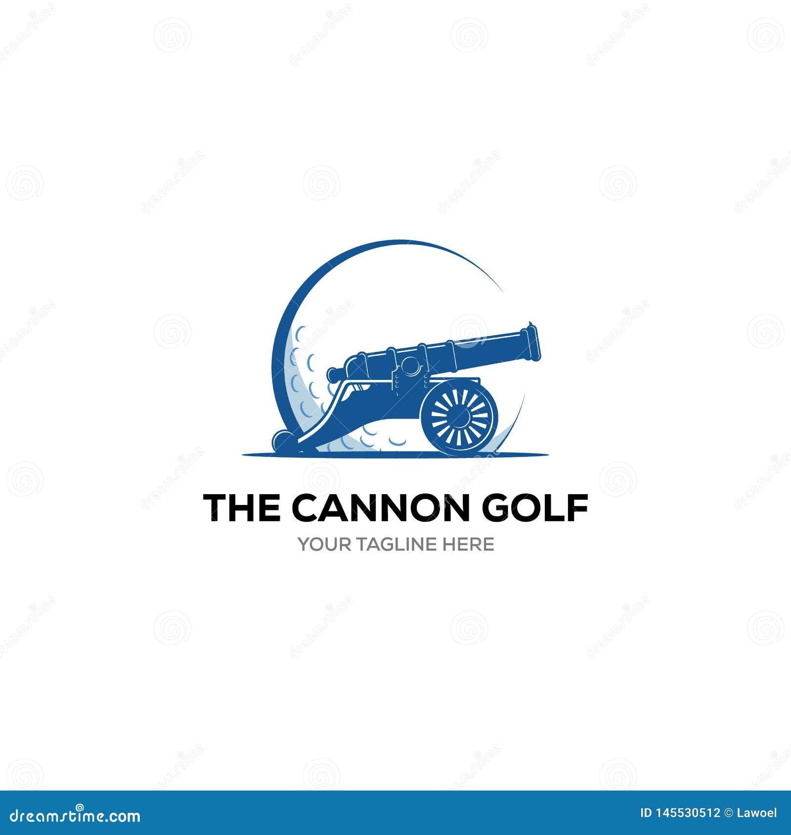 Etichetta di vettore di golf Logo di golf con il simbolo del cannone Illustrazione di vettore