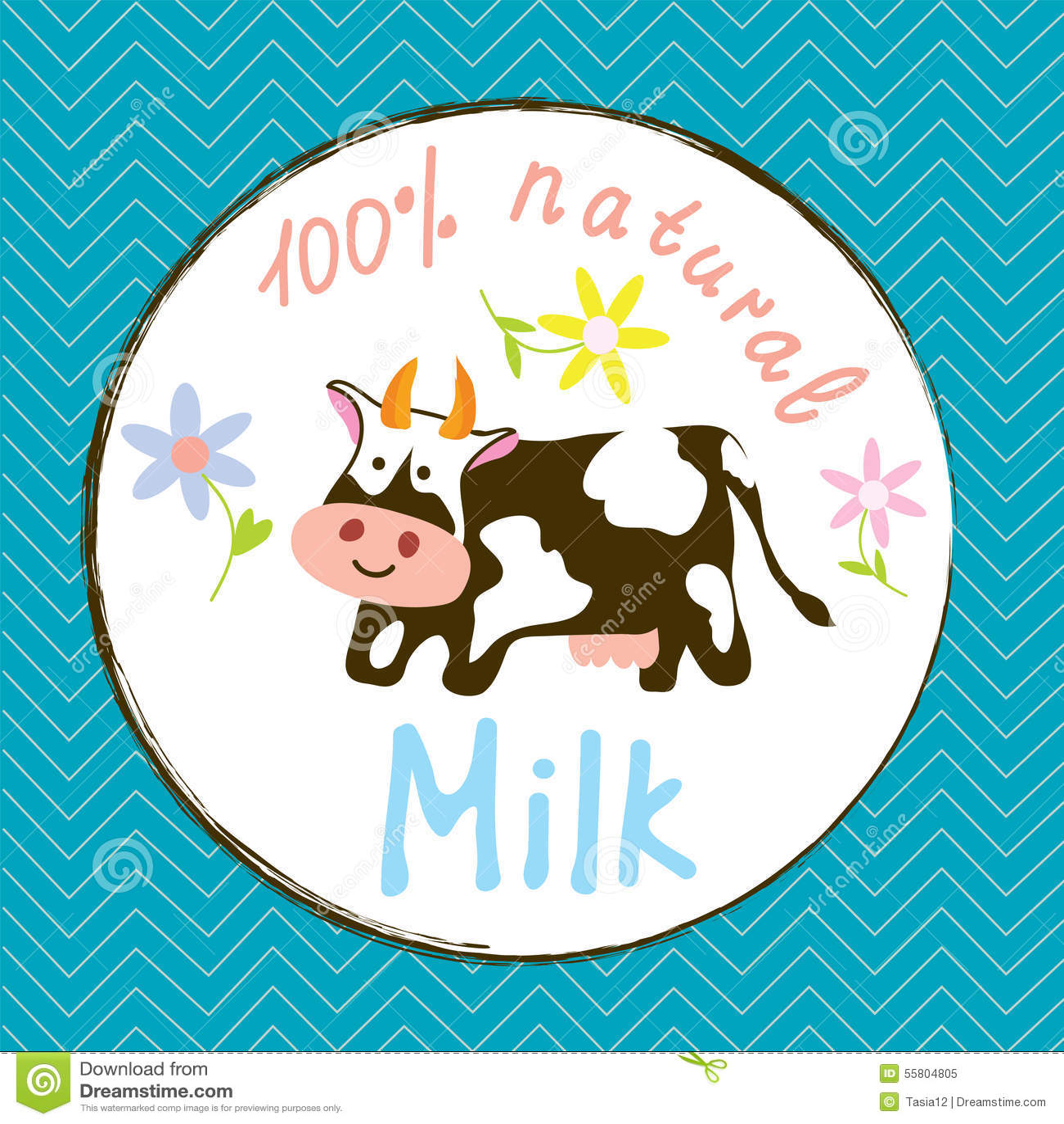 Etichetta Divertente Del Latte E Della Mucca Illustrazione