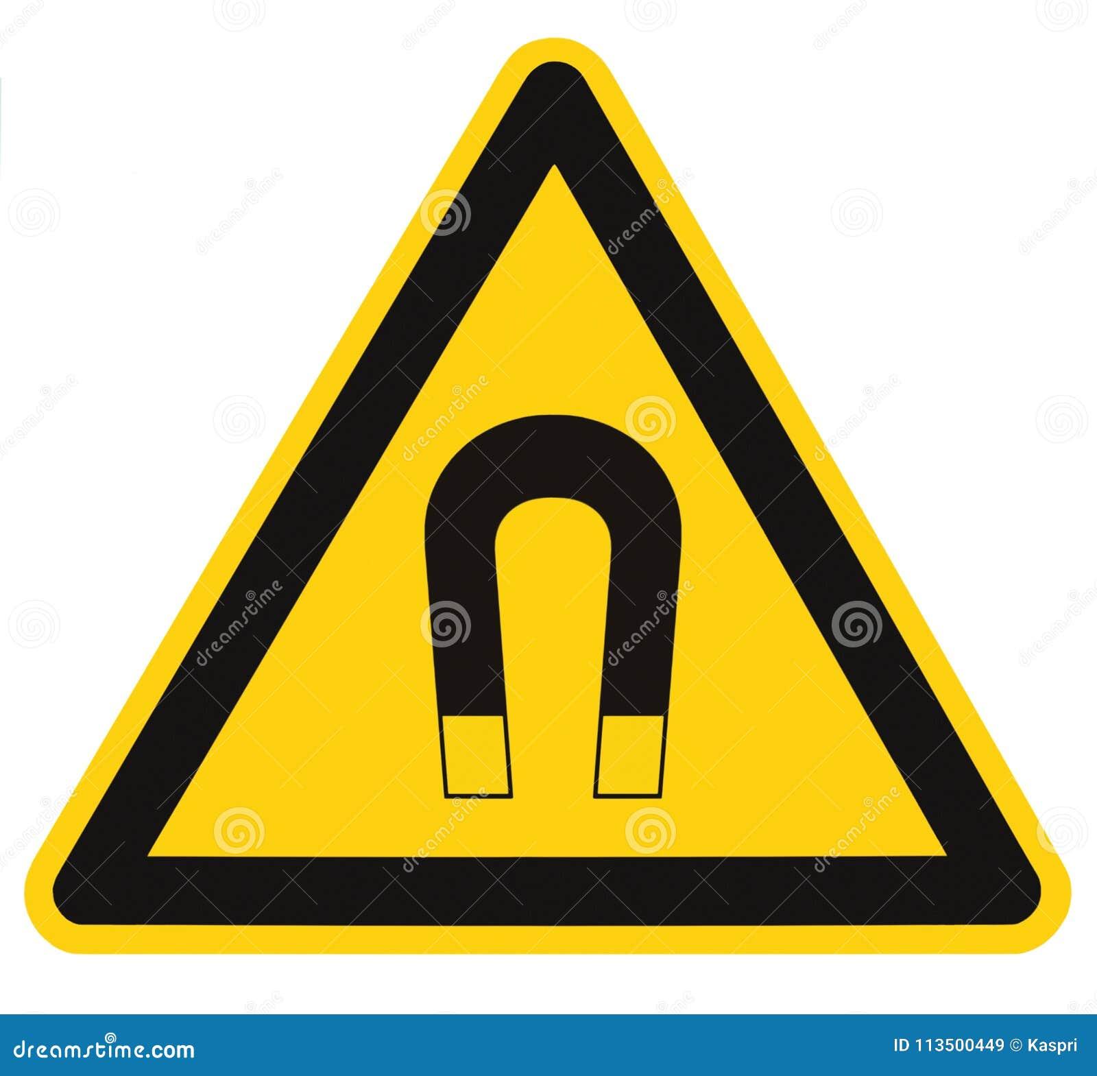 Etichetta isolata del segnale di pericolo del forte campo magnetico, concetto di rischio del pericolo di attenzione di cautela di