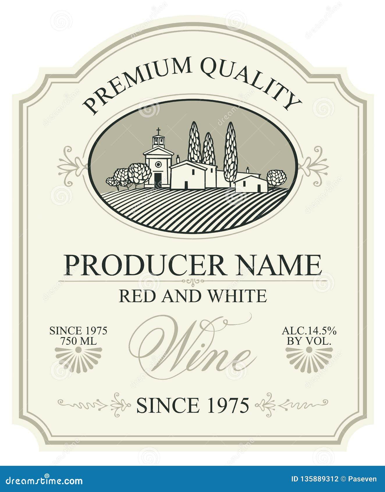 Etichetta per vino con paesaggio rurale europeo