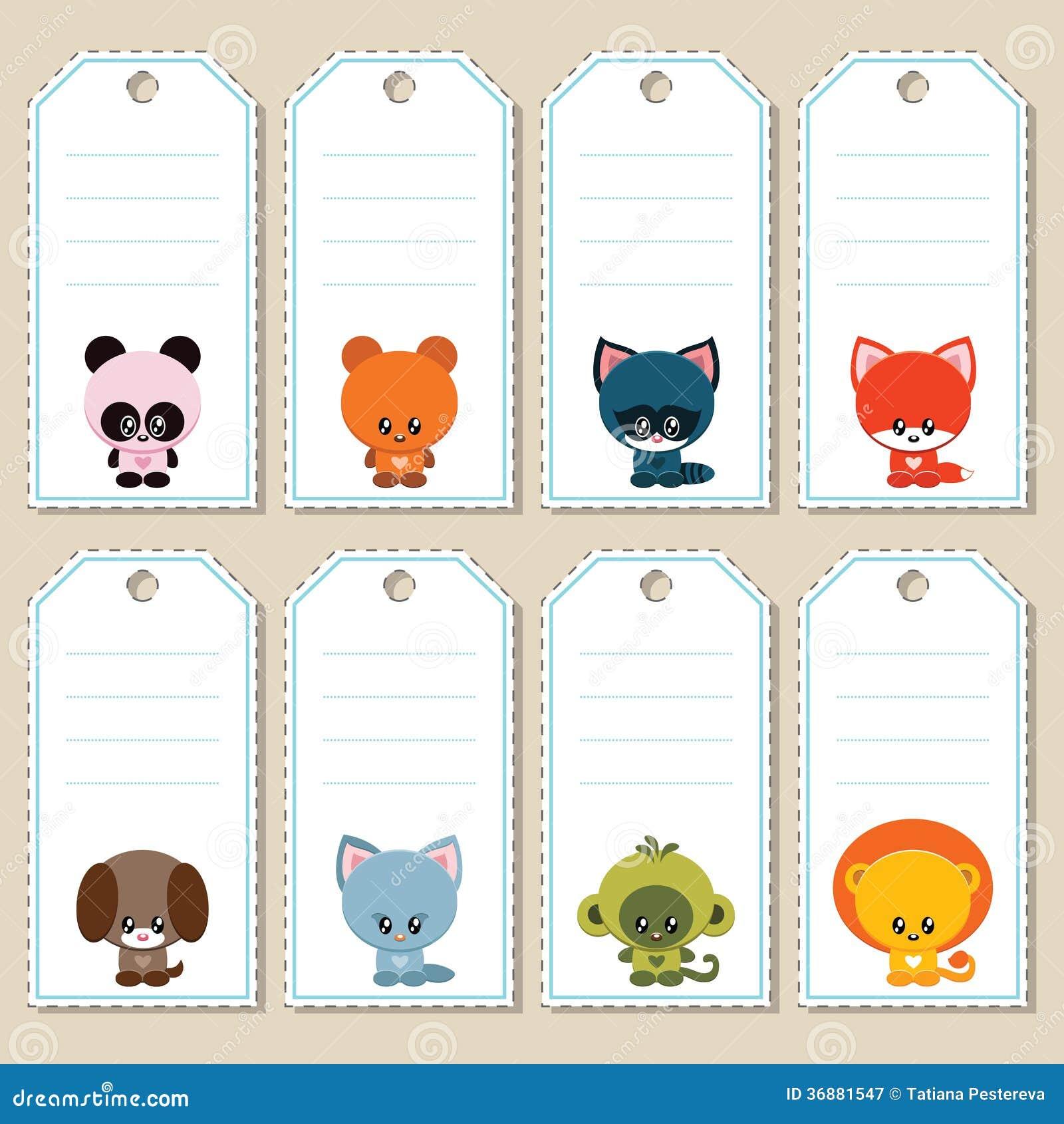 Download Etichette Animali Del Regalo Illustrazione Vettoriale - Illustrazione di kitten, cute: 36881547