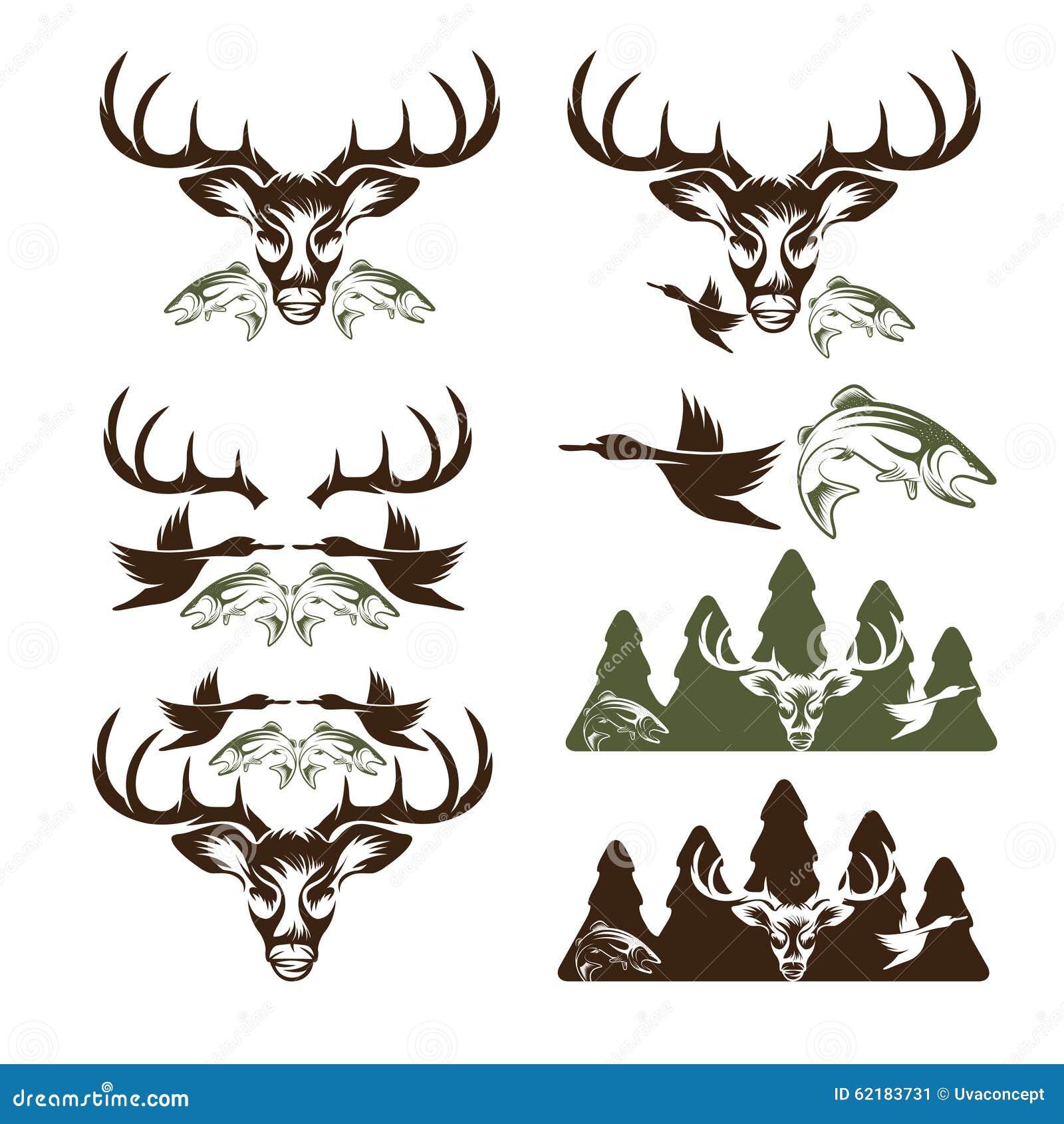 Etichette d 39 annata di pesca e di caccia ed elementi di for Cabine di cresta antler