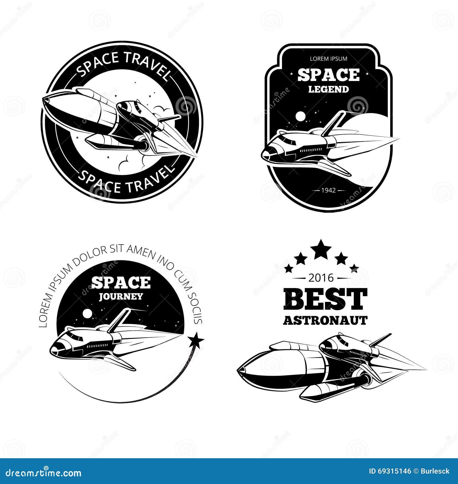 Etichette d annata di vettore dell astronauta, emblemi dei distintivi