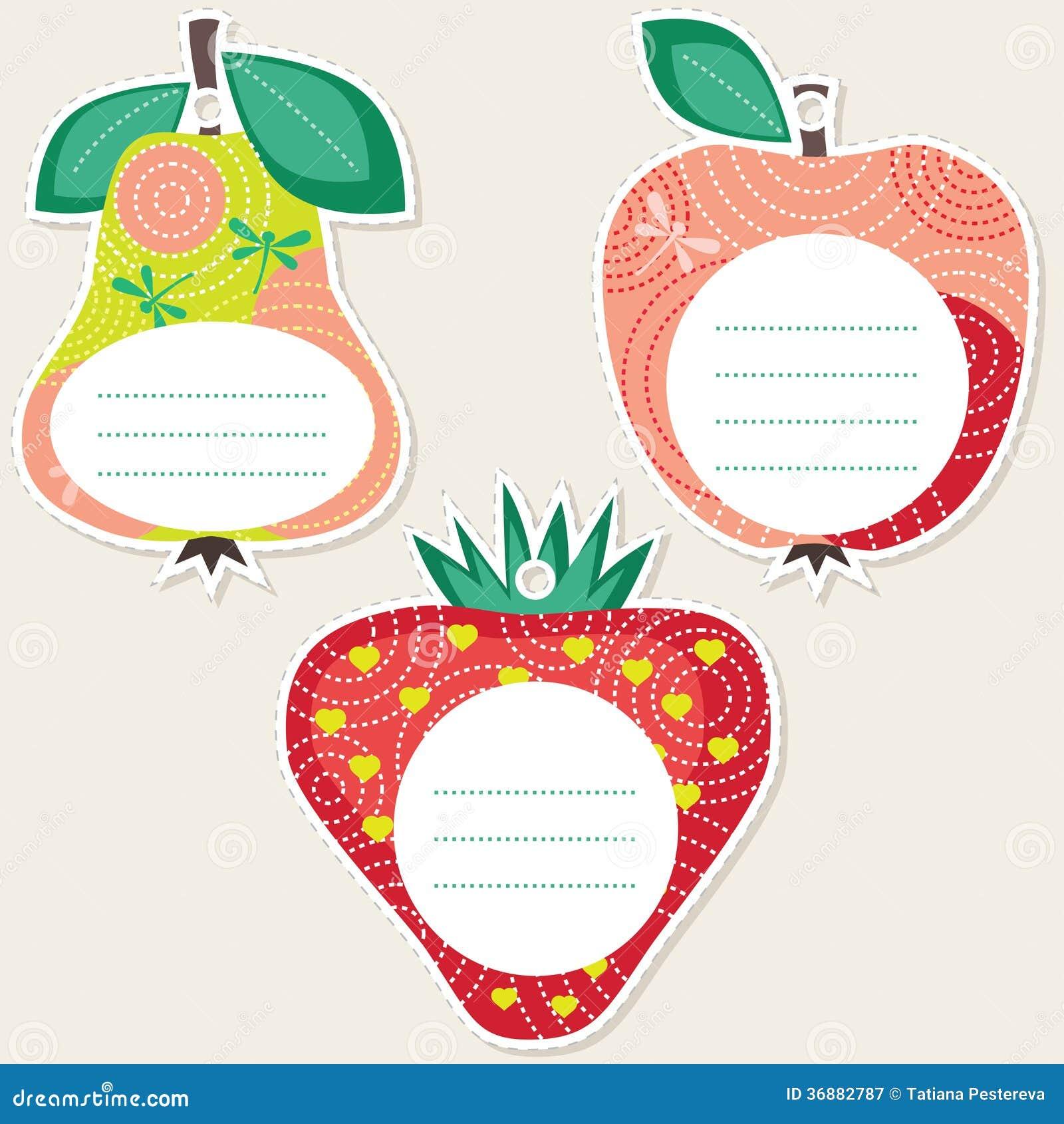 Download Etichette Del Regalo Della Frutta Illustrazione Vettoriale - Illustrazione di cute, decorativo: 36882787