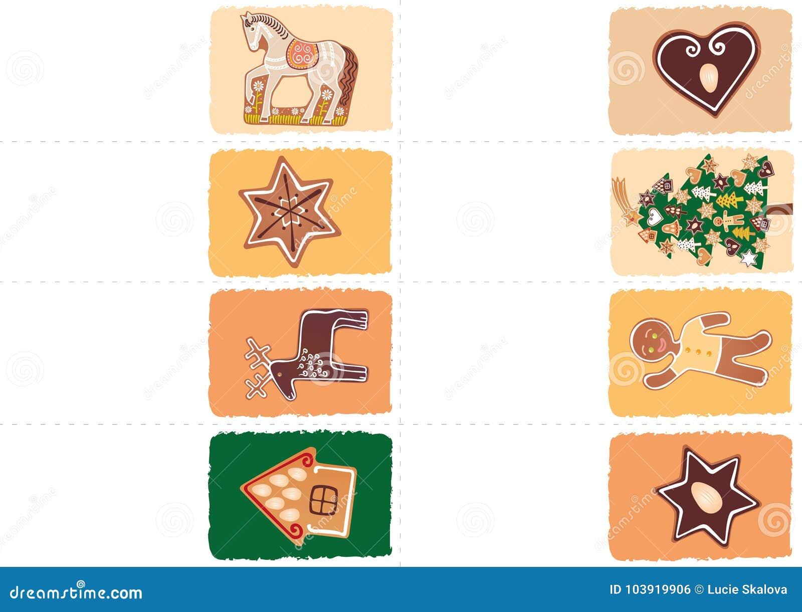 Etichette Natalizie Da Stampare etichette di natale con i pan di zenzero illustrazione