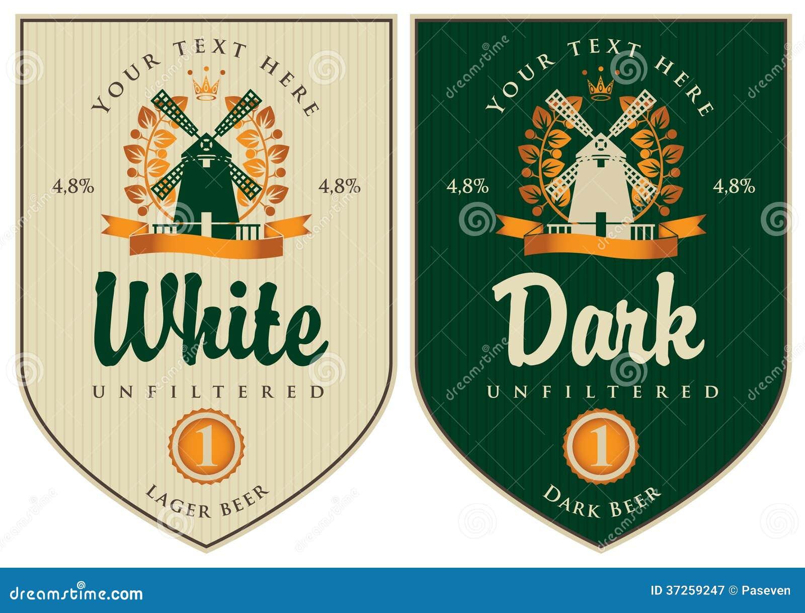 Molto Etichette per birra illustrazione vettoriale. Immagine di bordo  DJ17