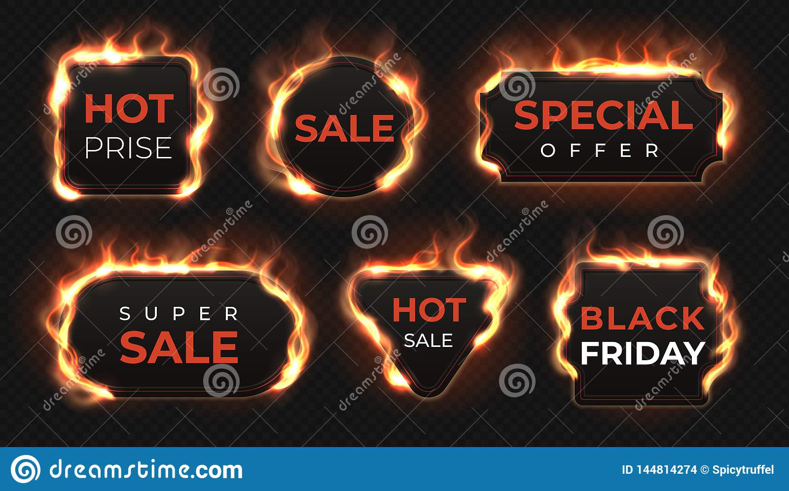 Etichette realistiche del fuoco Insegne calde con effetto brillante della fiamma, oggetti isolati del testo di offerta di vendita