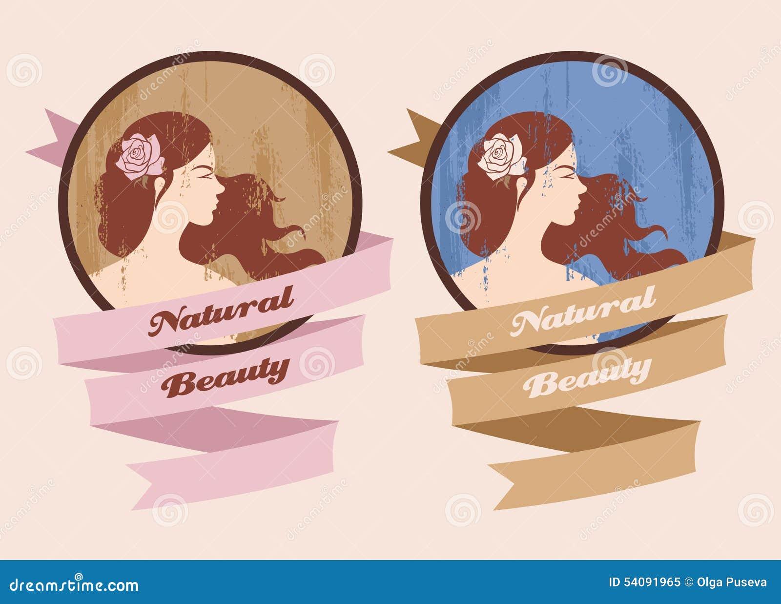 Etiket met mooi meisje