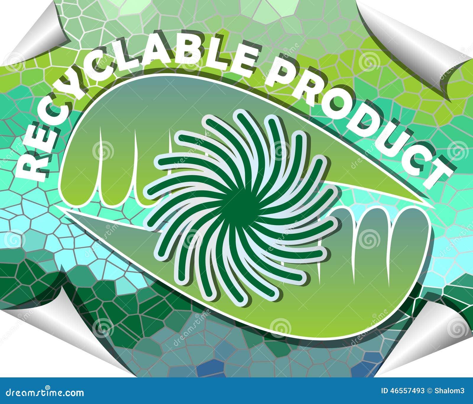 Etiket voor rekupereerbaar product in groen en blauw mozaïekontwerp