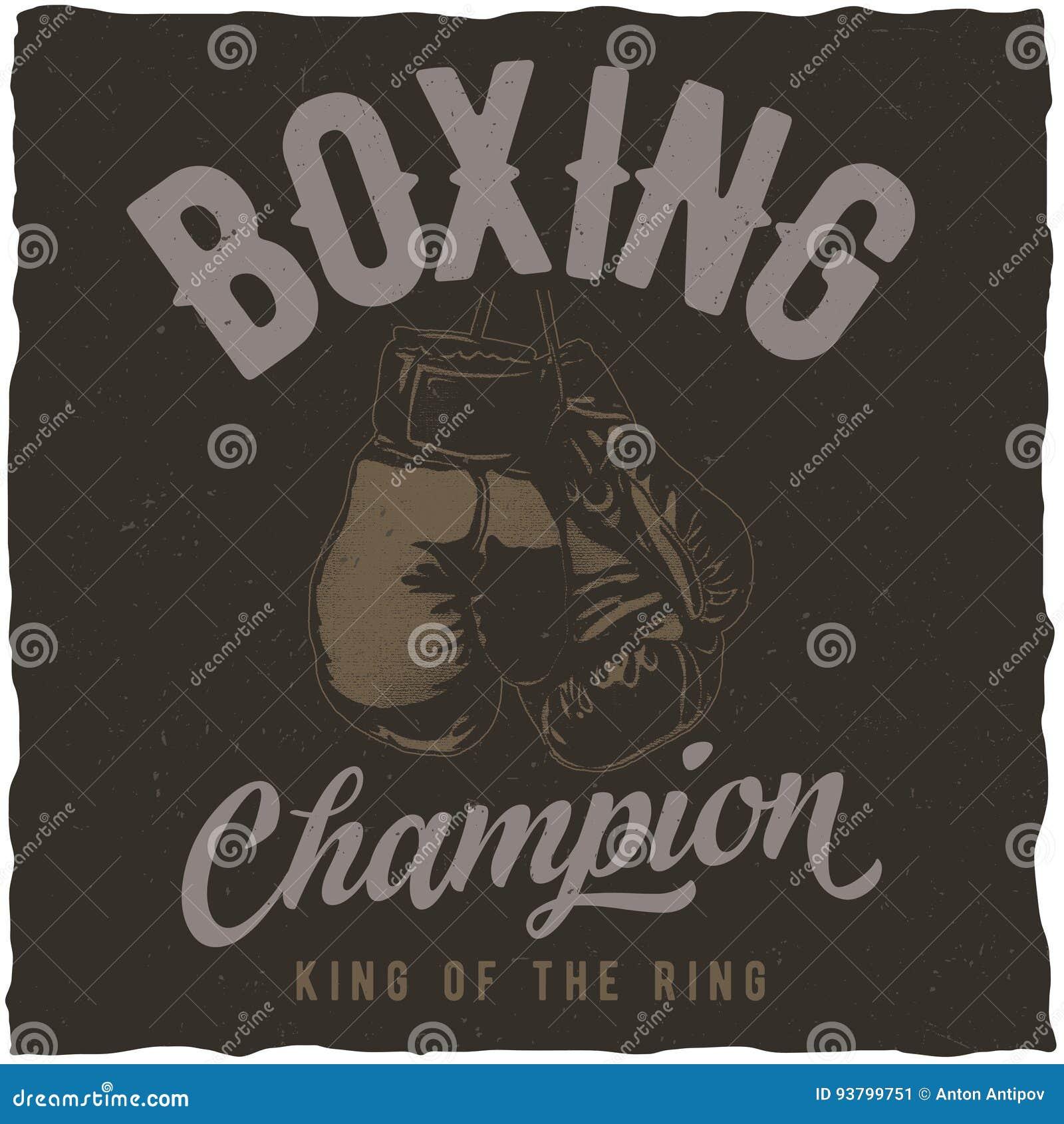 Etiketontwerp met illustratie van bokshandschoenen