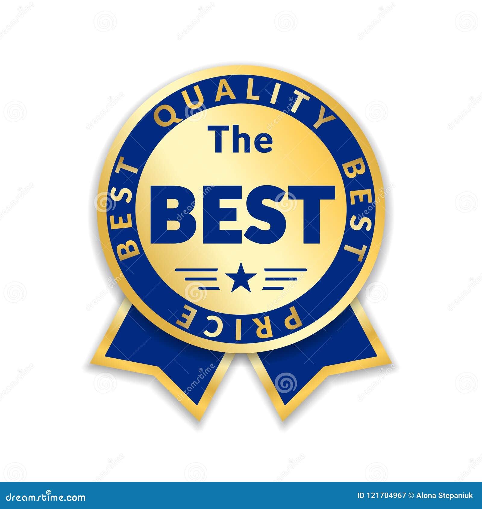 Etikett för pris för bandutmärkelse bästa Guld- isolerad vit bakgrund för bandutmärkelse symbol Mest bra kvalitets- guld- design