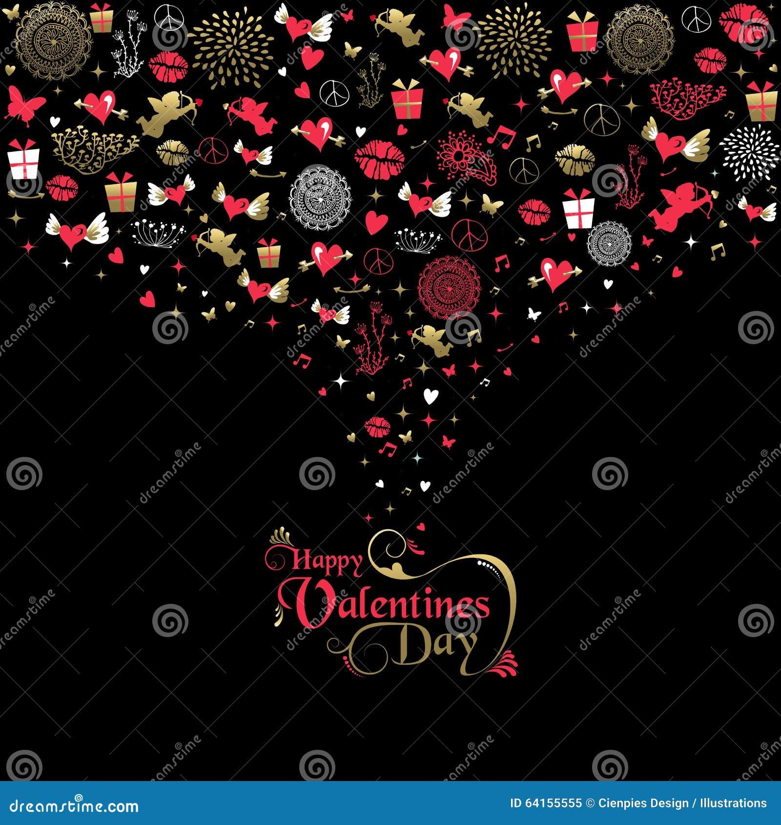 Etikett för symbol för kort för valentindaghälsning guld- rosa