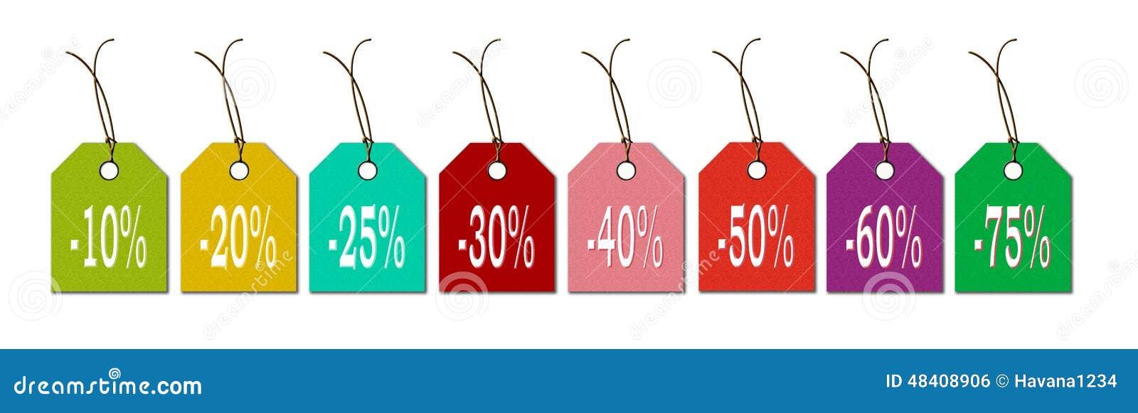 Etiketten in de nieuwe kleuren voor verkoopkoopjes en kortingen