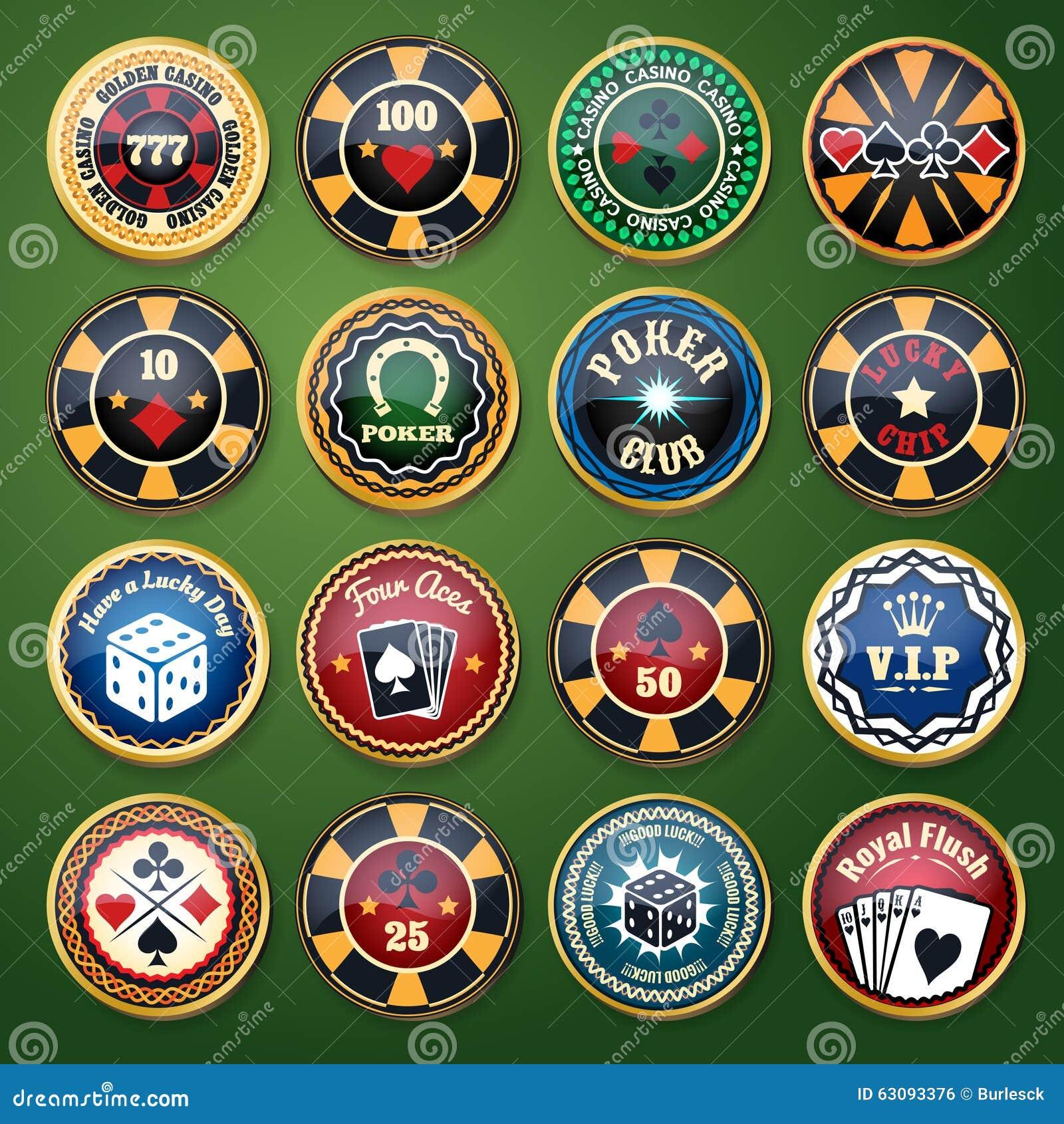 Etiketter för vektor för kasino- och pokerklubbafärg glansiga