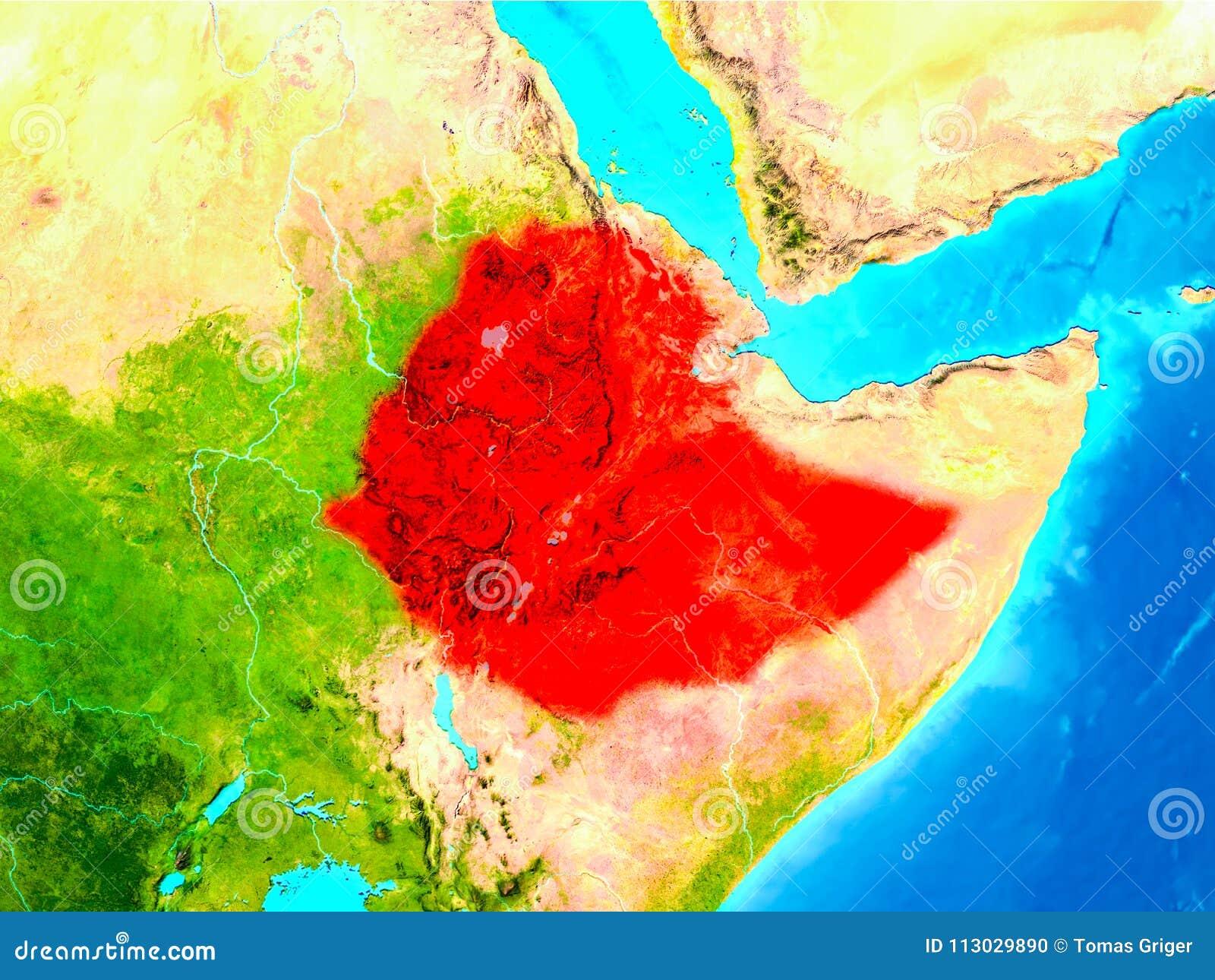 Etiopía en rojo en la tierra