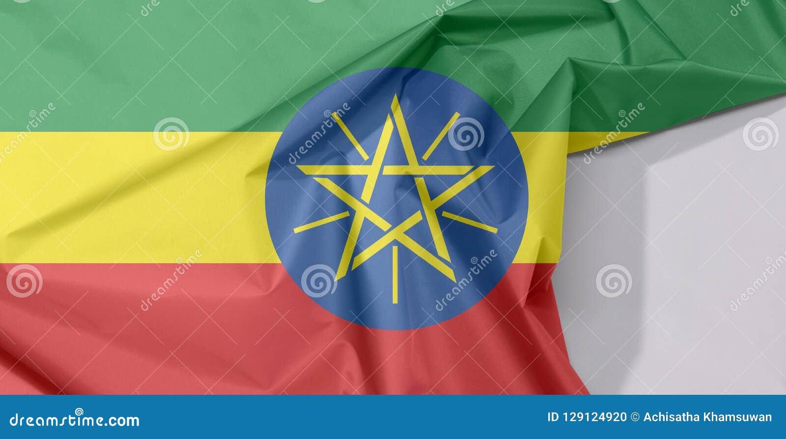 Etiopia tkaniny flaga zagniecenie z biel przestrzenią i krepa