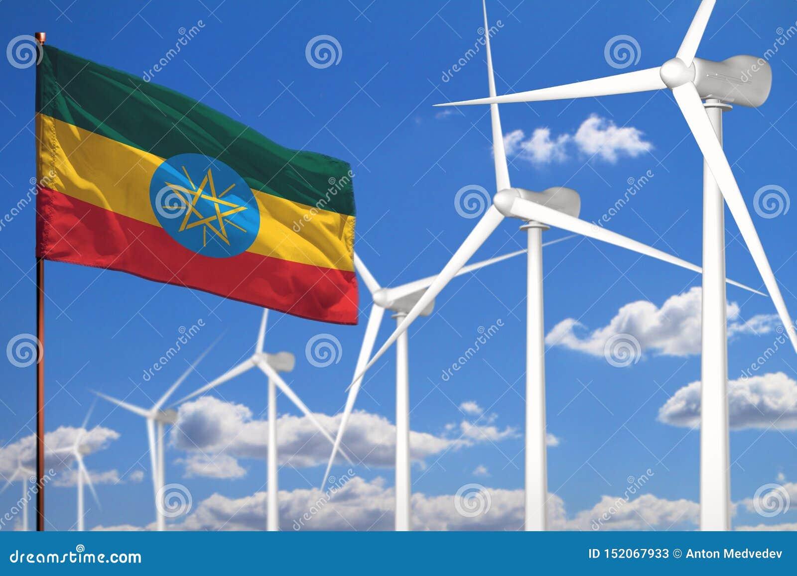 Etiopien alternativ energi, industriellt begrepp för vindenergi med väderkvarnar och förnybar industriell illustration för flagga