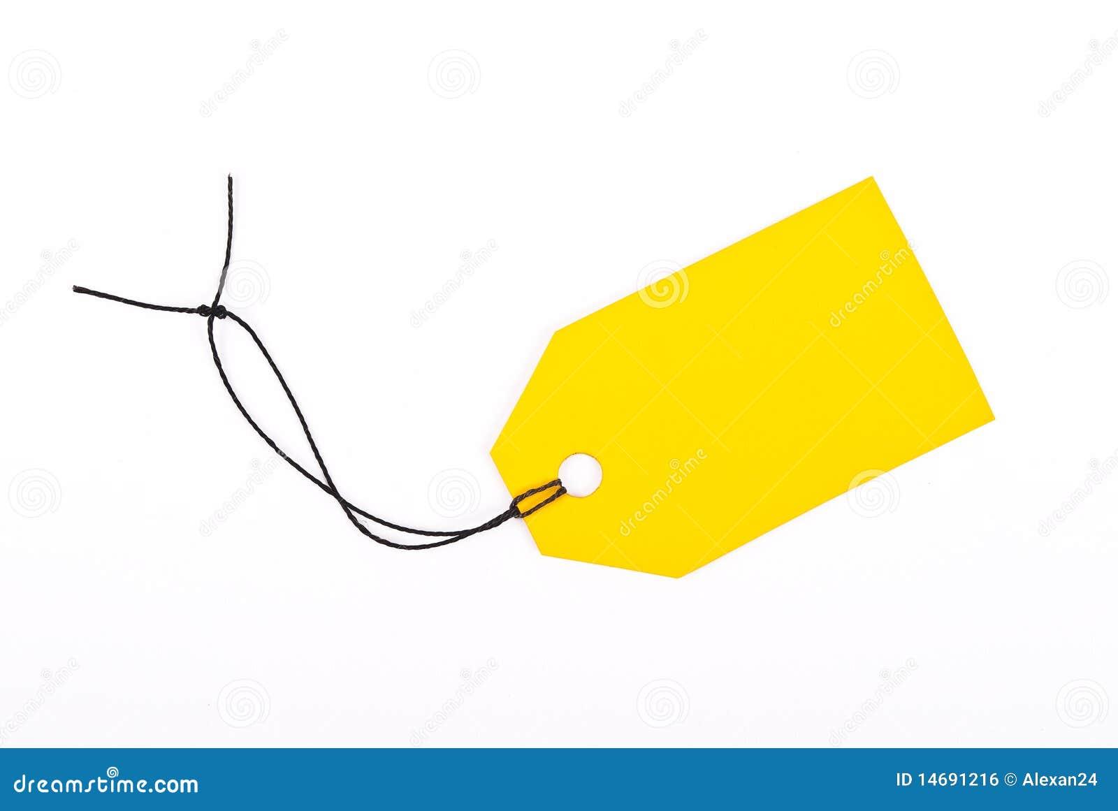 Etiqueta amarela da loja