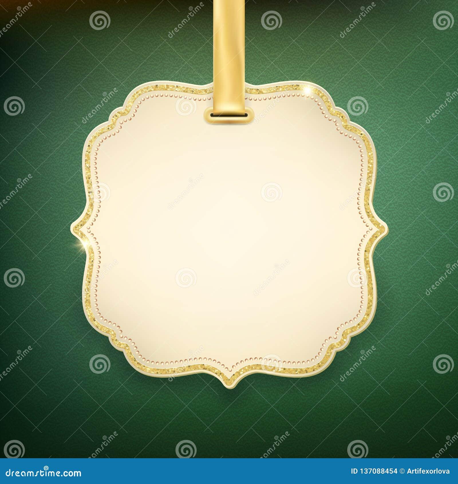 Etiqueta beige elegante con la cinta de oro en fondo verde EPS 10