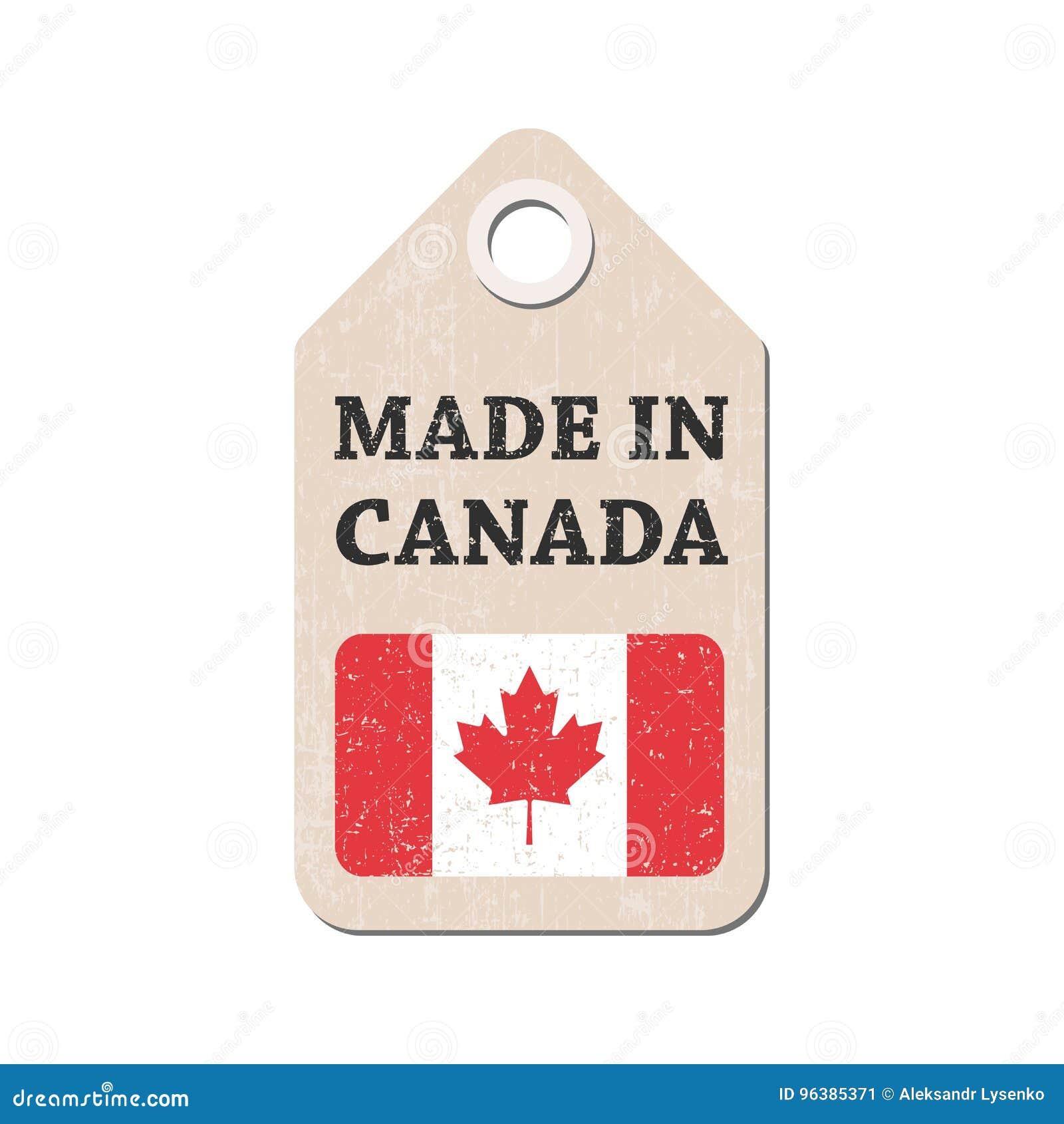 Etiqueta Colgante Hecha En Canadá Con La Bandera Ilustración Del ...