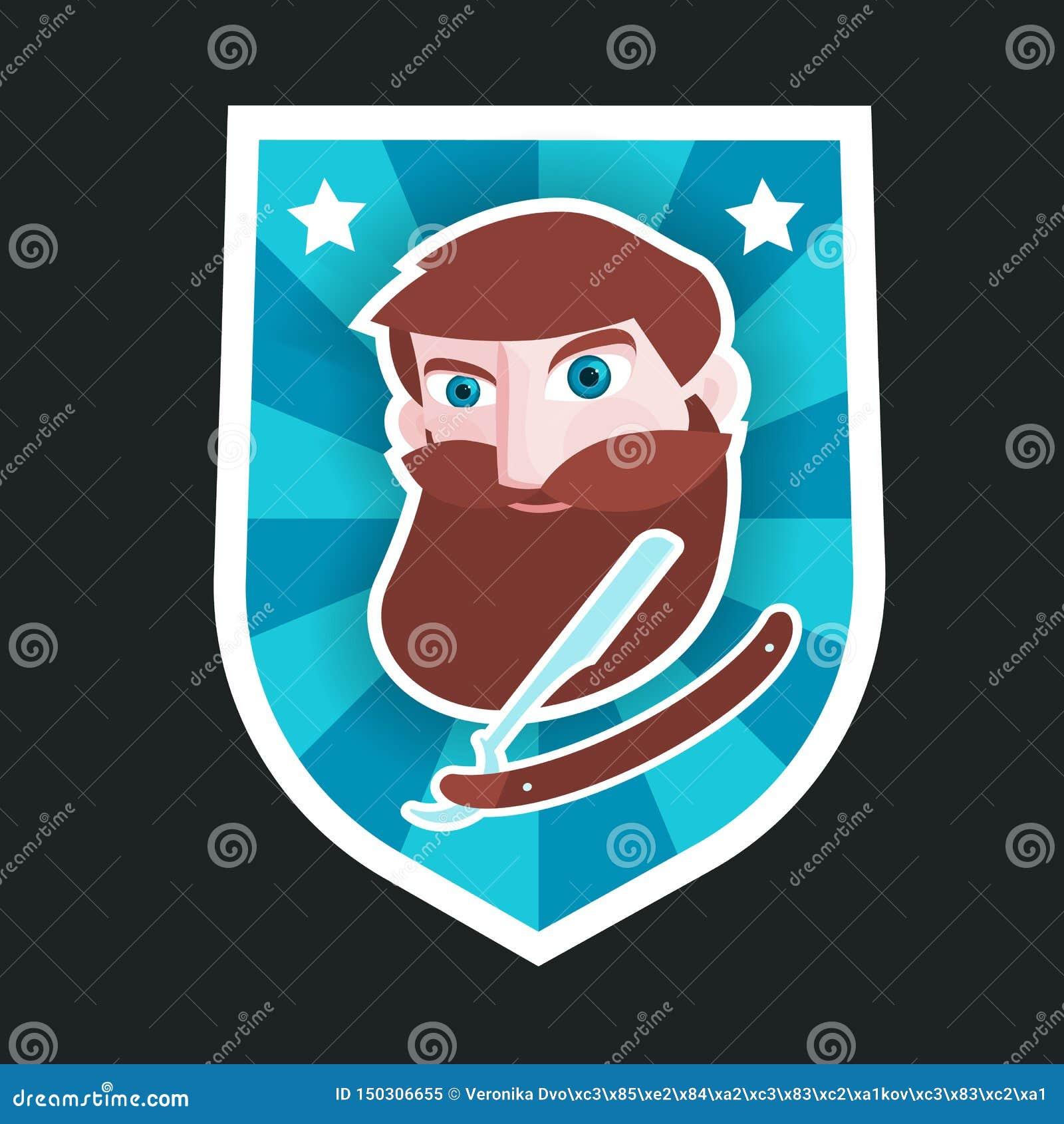 Etiqueta con el hombre y la maquinilla de afeitar barbudos el afeitar Diseñado para la peluquería de caballeros etc