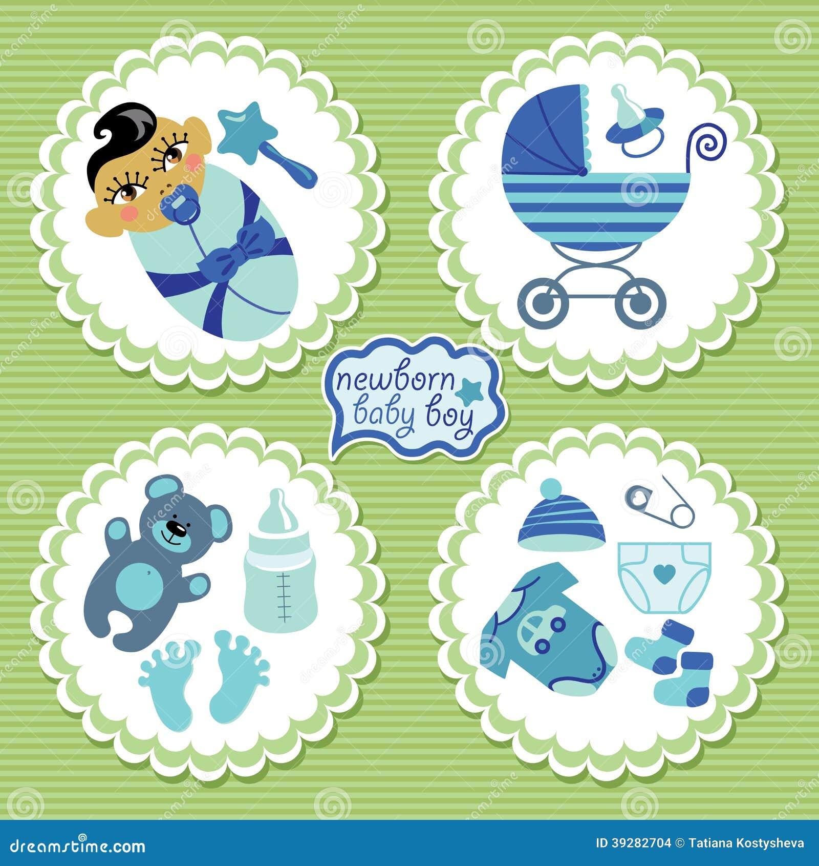 Etiqueta con los elementos para el bebé recién nacido asiático