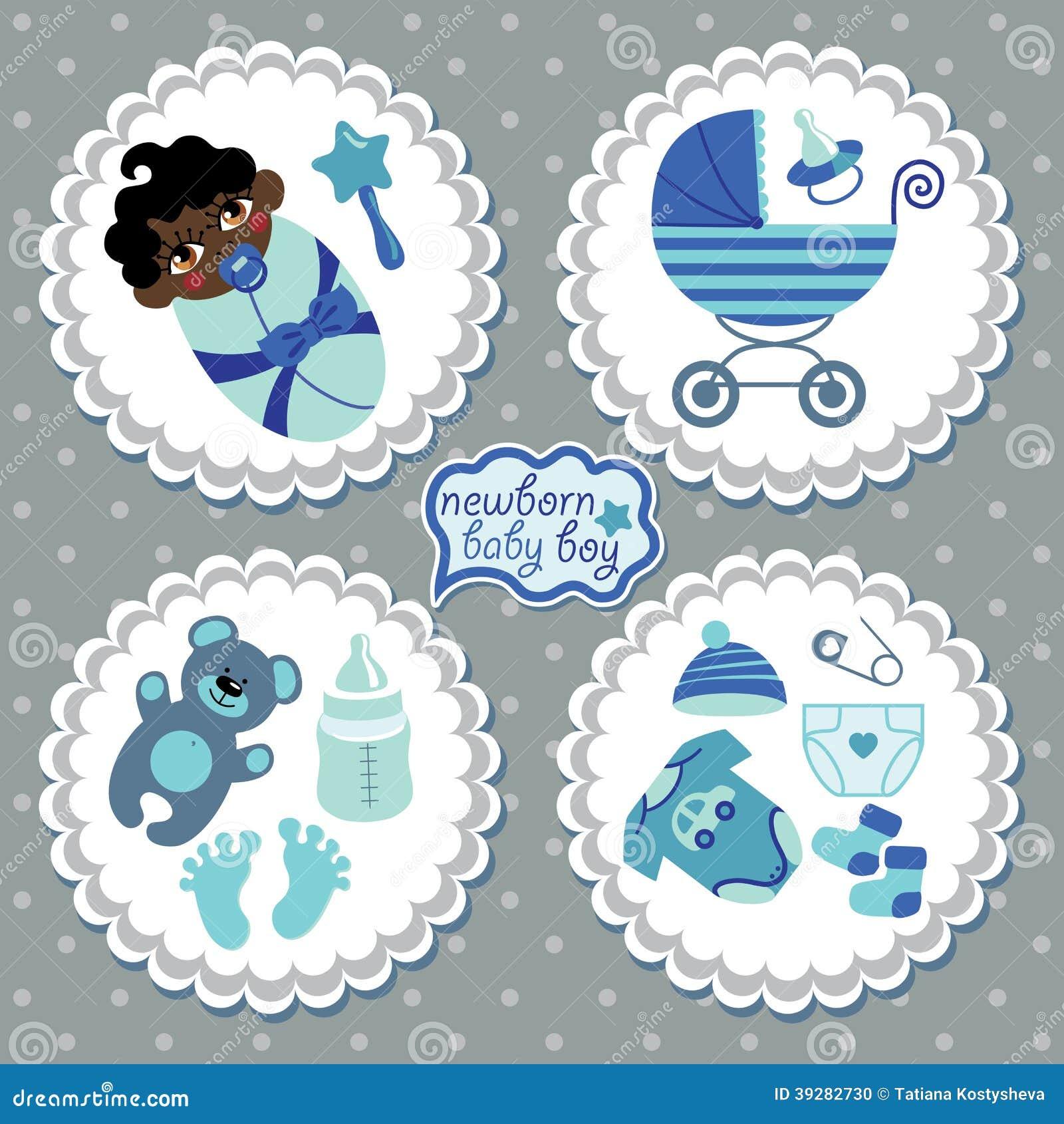 Etiqueta con los elementos para el bebé recién nacido del mulato
