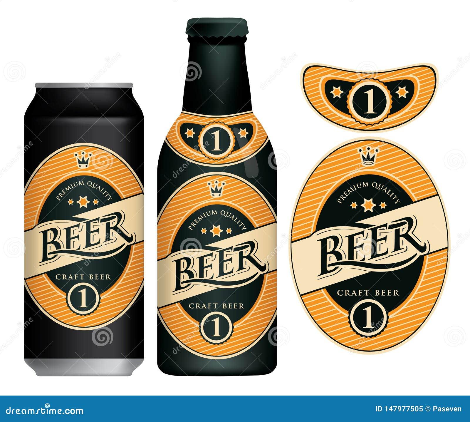Etiqueta da cerveja do vetor na lata e na garrafa de cerveja