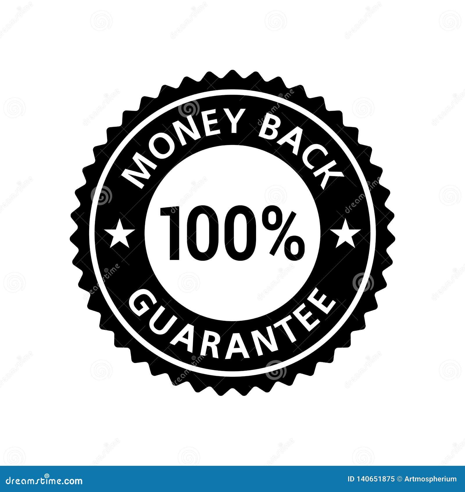 Etiqueta 100  da garantia da parte traseira do dinheiro