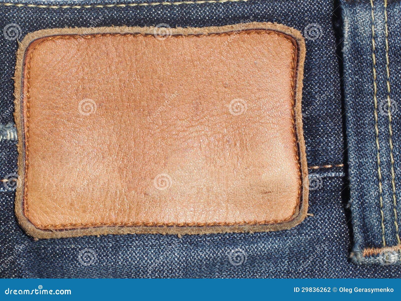 Etiqueta de couro vazia das calças de brim