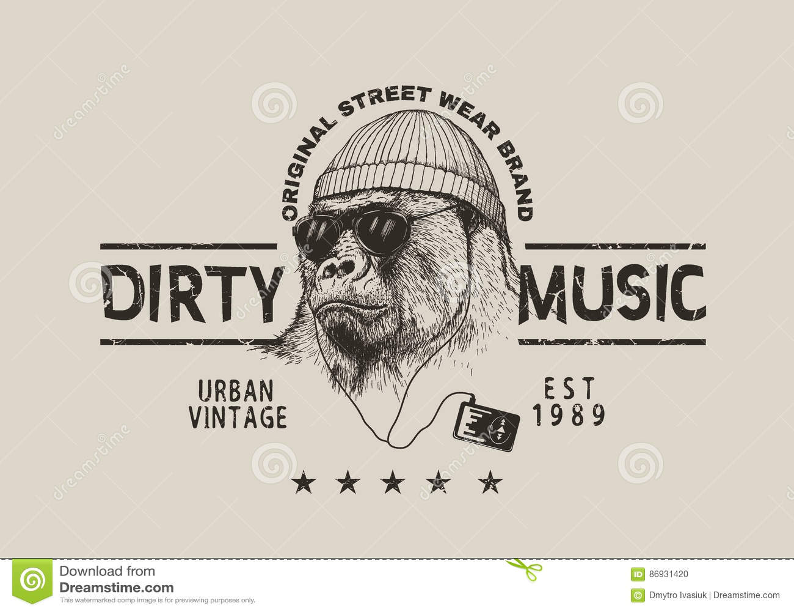 El gorila escarpado escucha una música en auriculares Etiqueta del grunge  del vector para el diseño de la camiseta Estilo de la calle f6d6544620675
