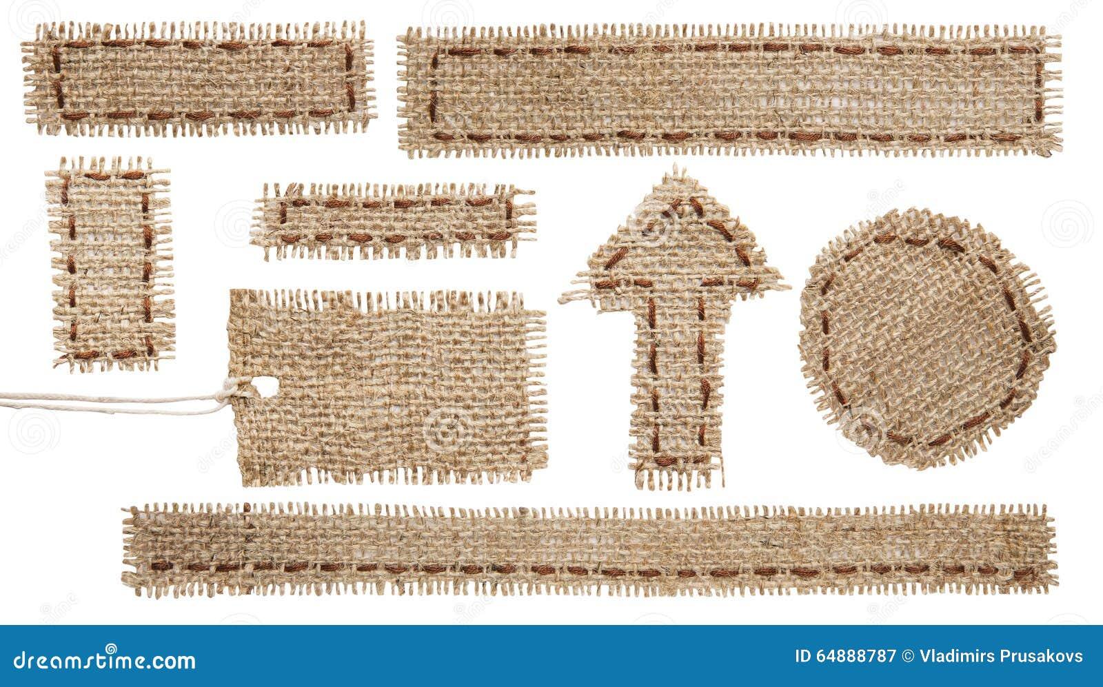 Etiqueta de la etiqueta de la tela de la arpillera, cinta del remiendo del paño de la arpillera, harpillera