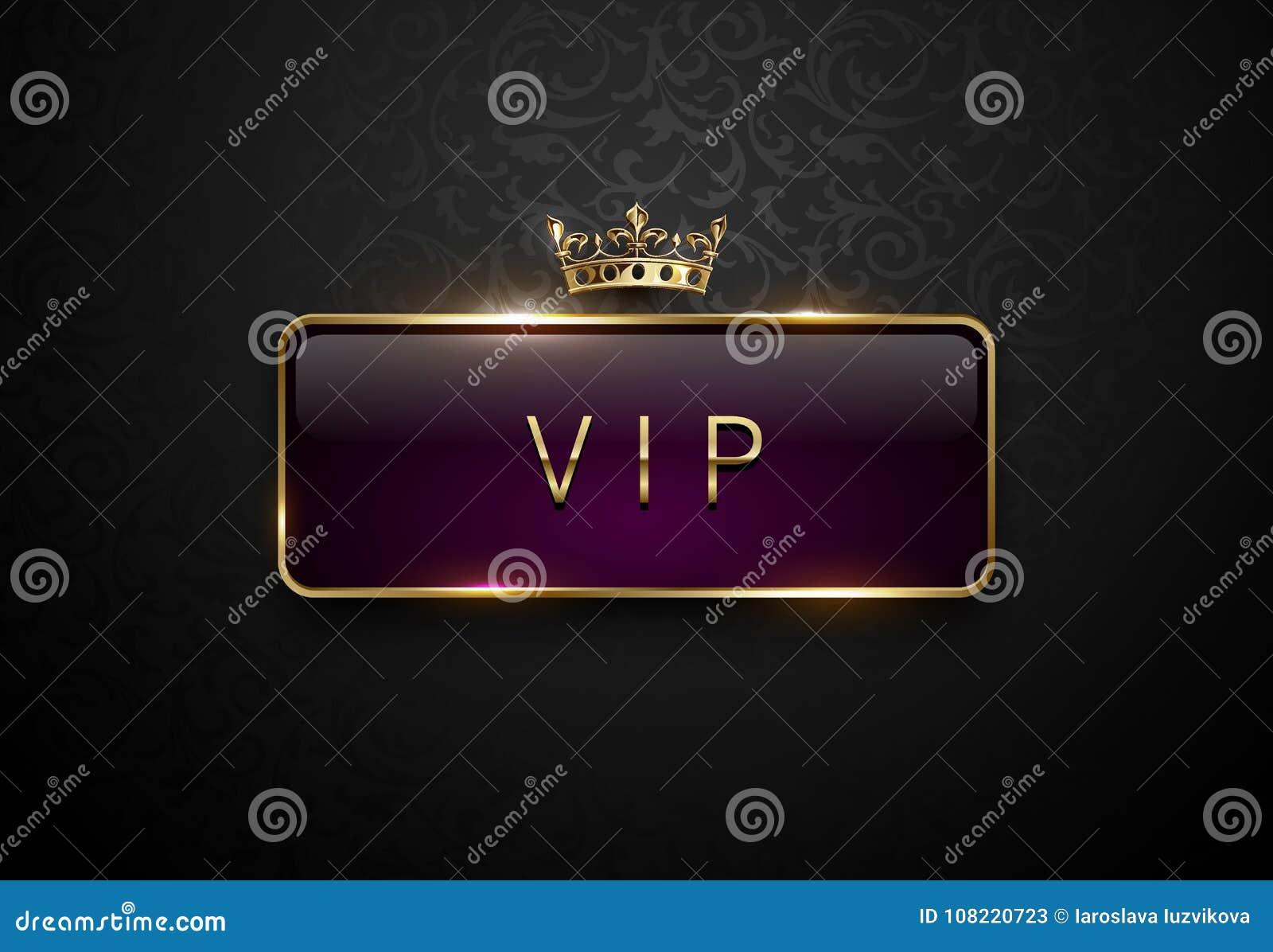 Etiqueta de la púrpura real del Vip con el marco de oro y corona en fondo negro del estampado de flores Plantilla superior oscura