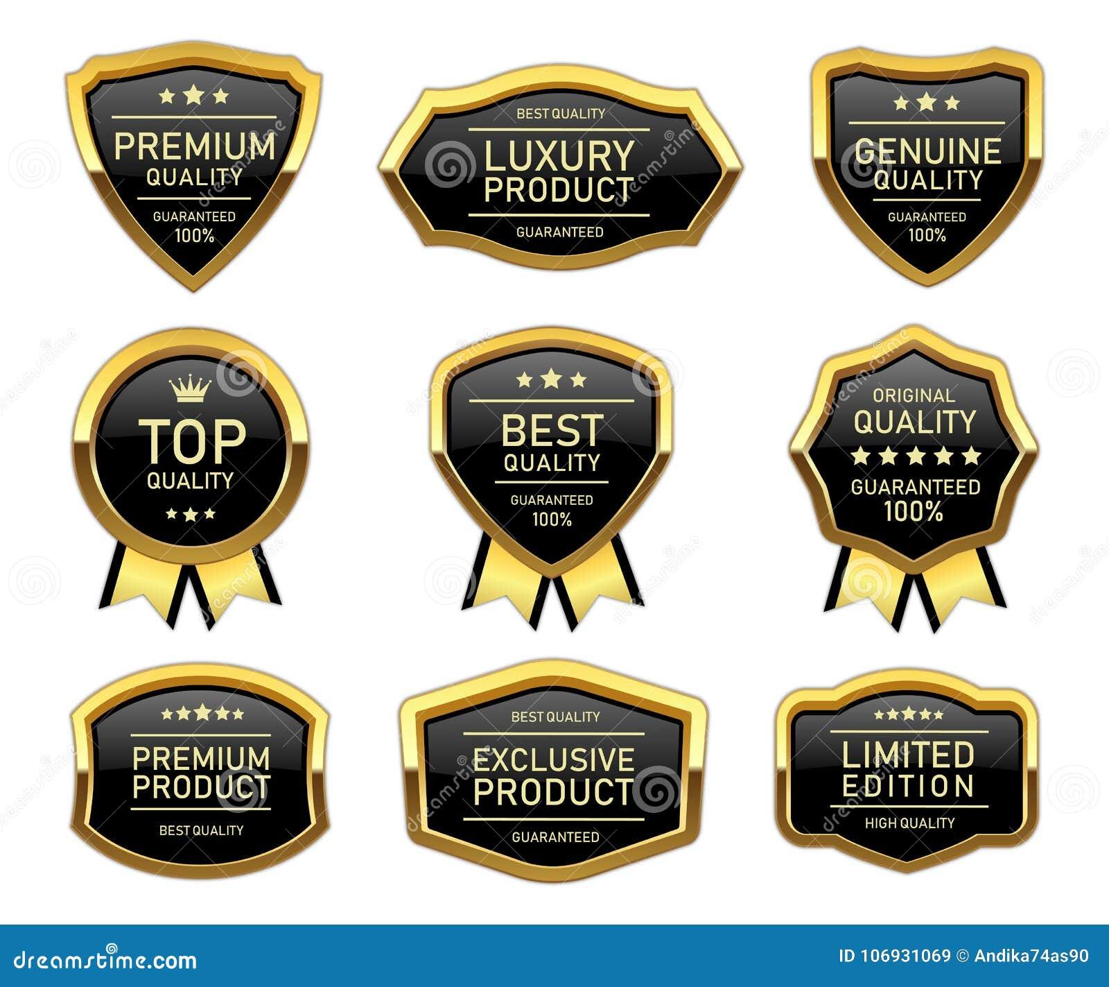 Etiqueta de oro de lujo del producto de calidad