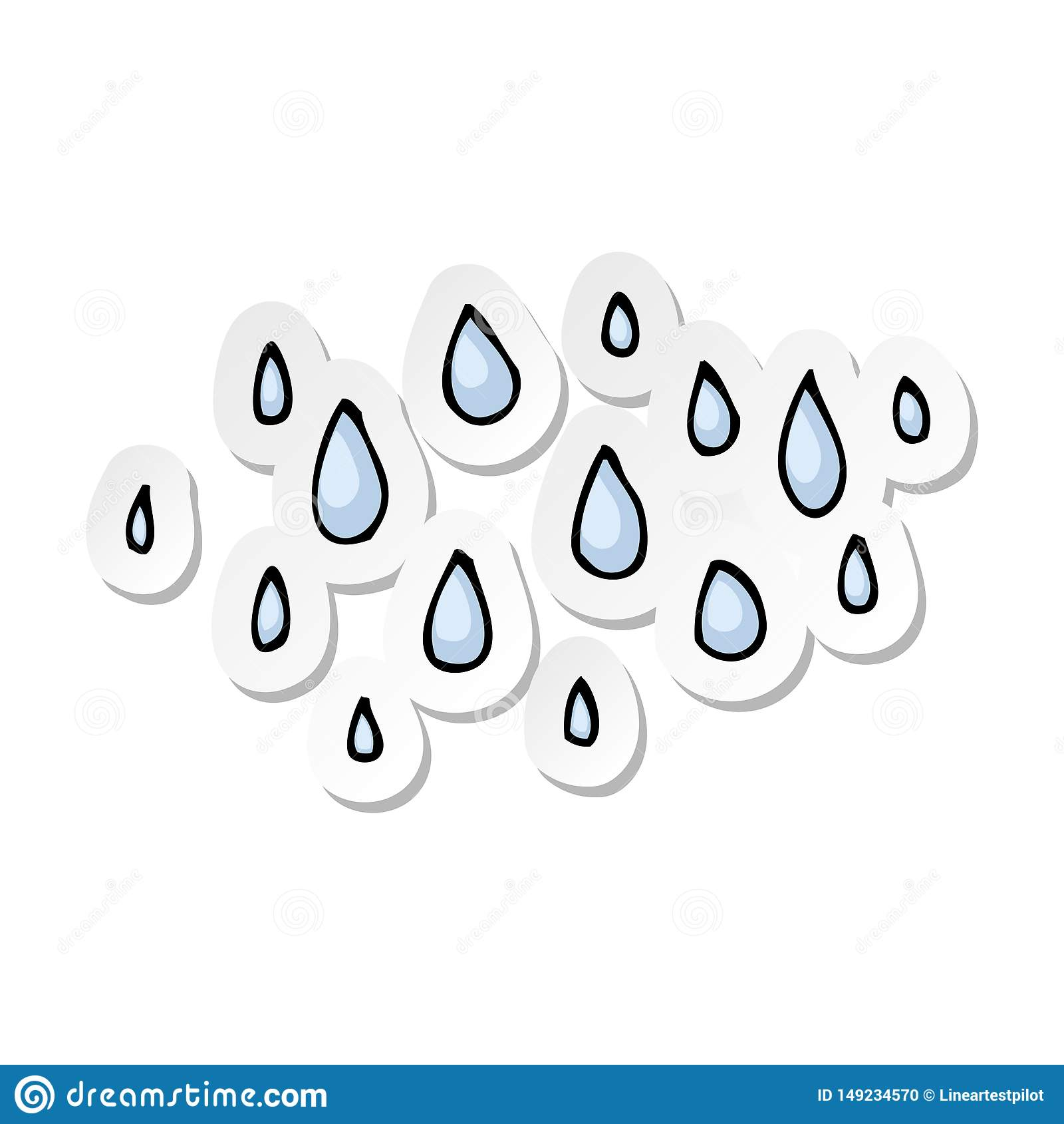 Etiqueta de pingos de chuva de uns desenhos animados