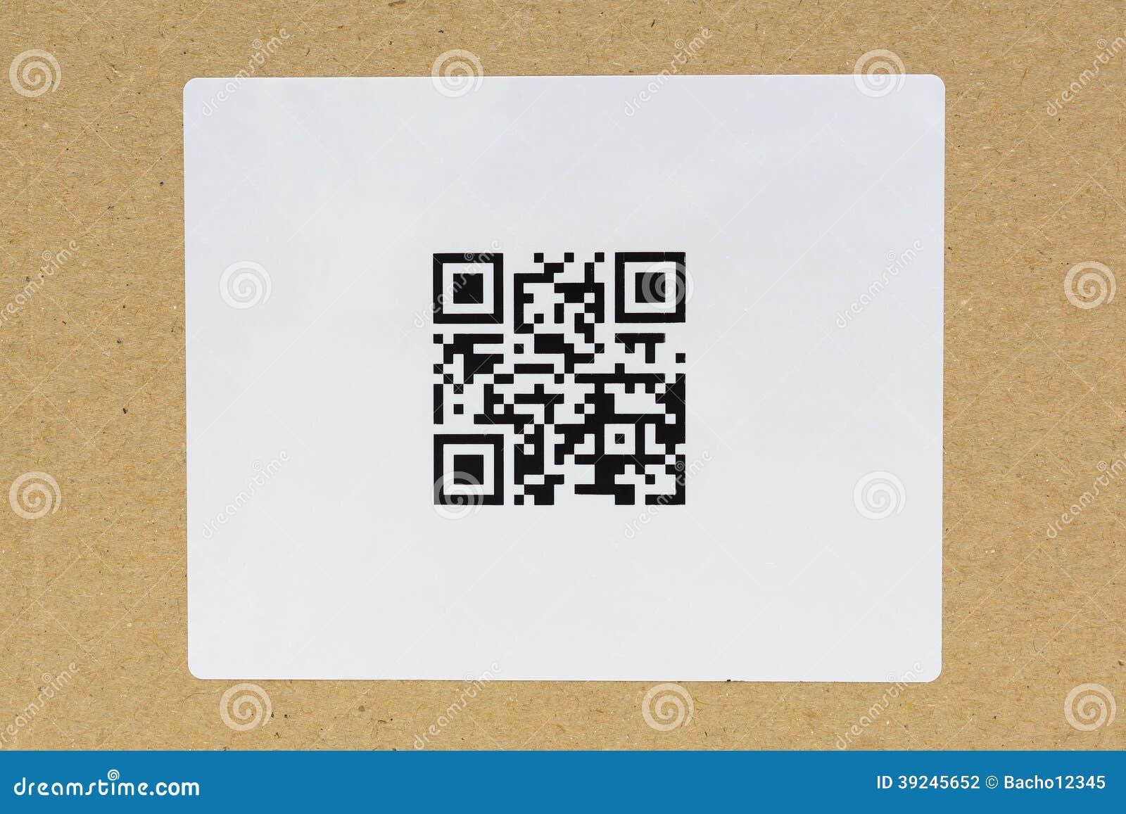 Etiqueta del código de QR en el cartón